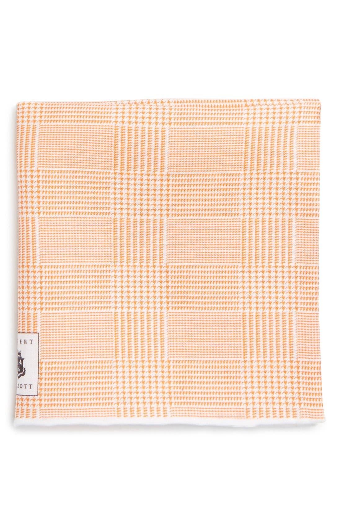 Plaid Linen Pocket Square,                         Main,                         color, Orange