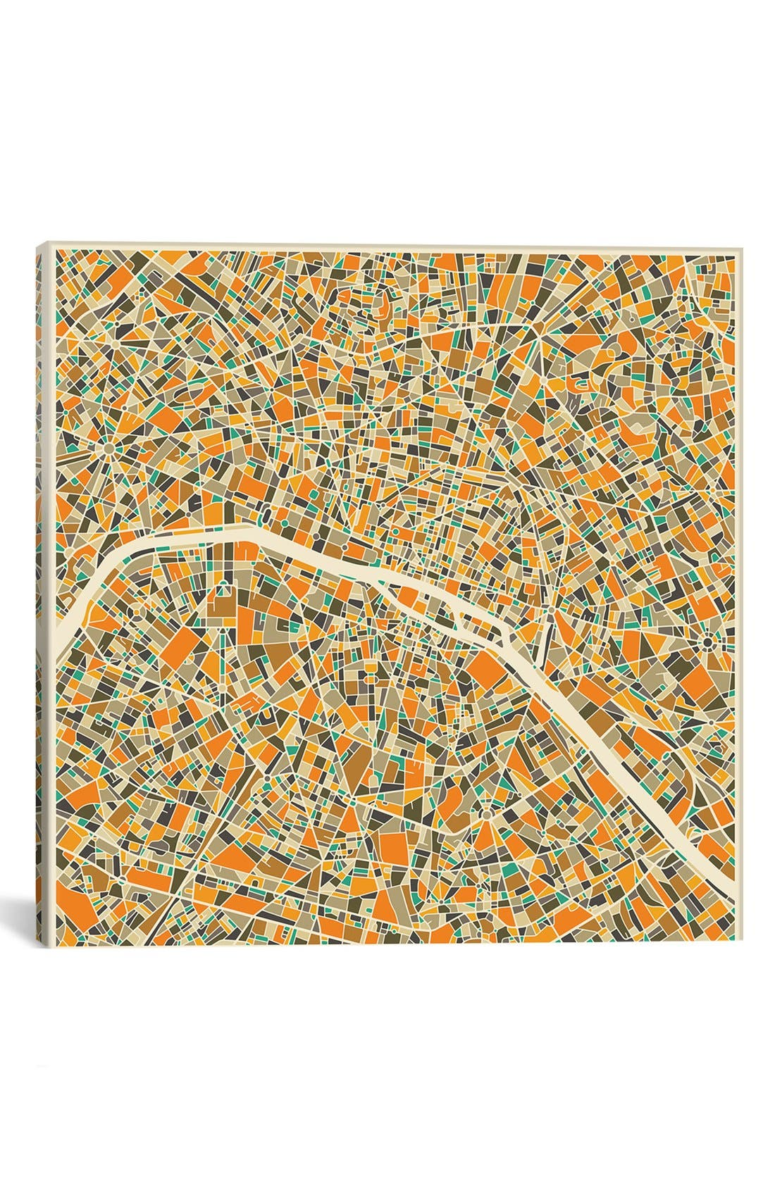 'City Map of Paris' Giclée Print Canvas Art,                         Main,                         color, Orange