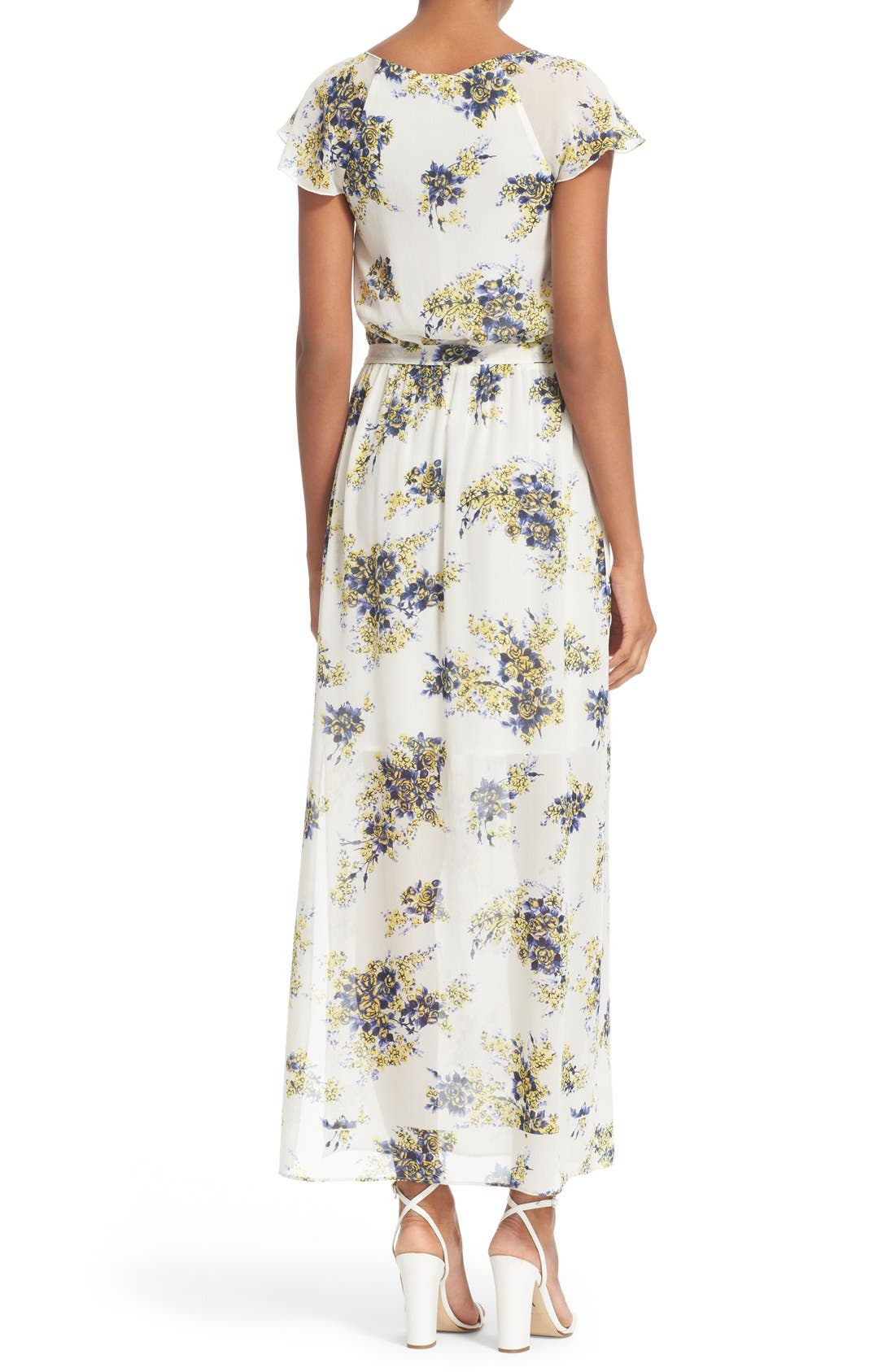 'Astilbe' Floral Print Silk Maxi Dress,                             Alternate thumbnail 2, color,                             Porcelain