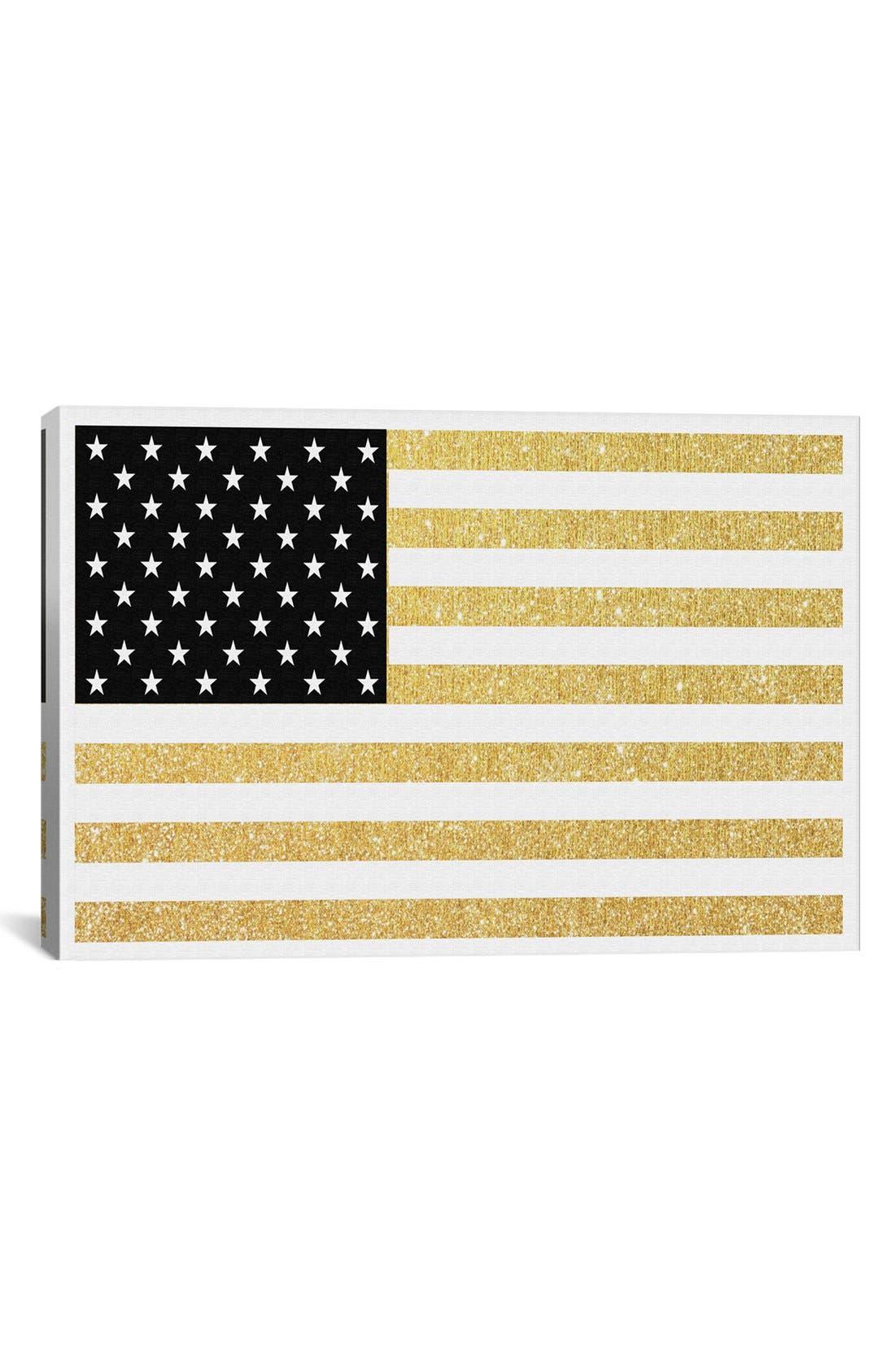 'Gold Flag I' Giclée Print Canvas Art,                             Main thumbnail 1, color,                             Metallic Gold