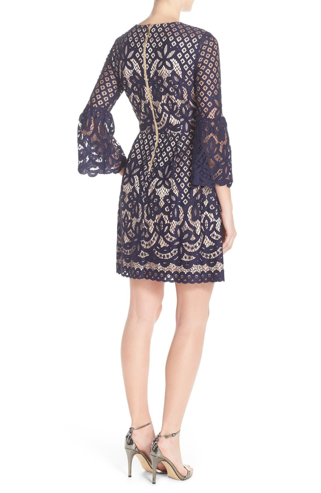 Bell Sleeve Fit & Flare Dress,                             Alternate thumbnail 2, color,                             Navy