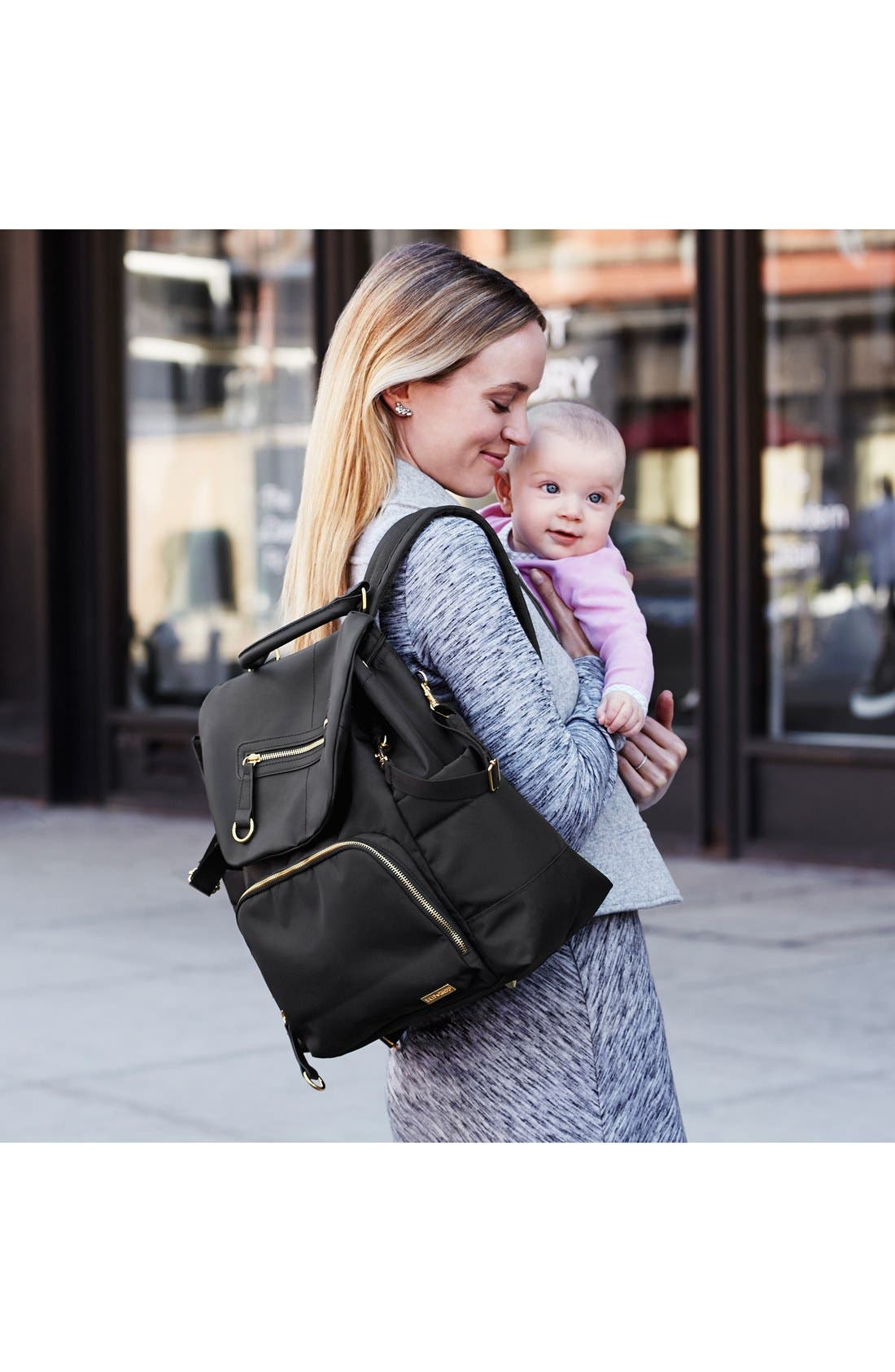 'Chelsea' Diaper Bag Backpack,                             Alternate thumbnail 4, color,                             Black
