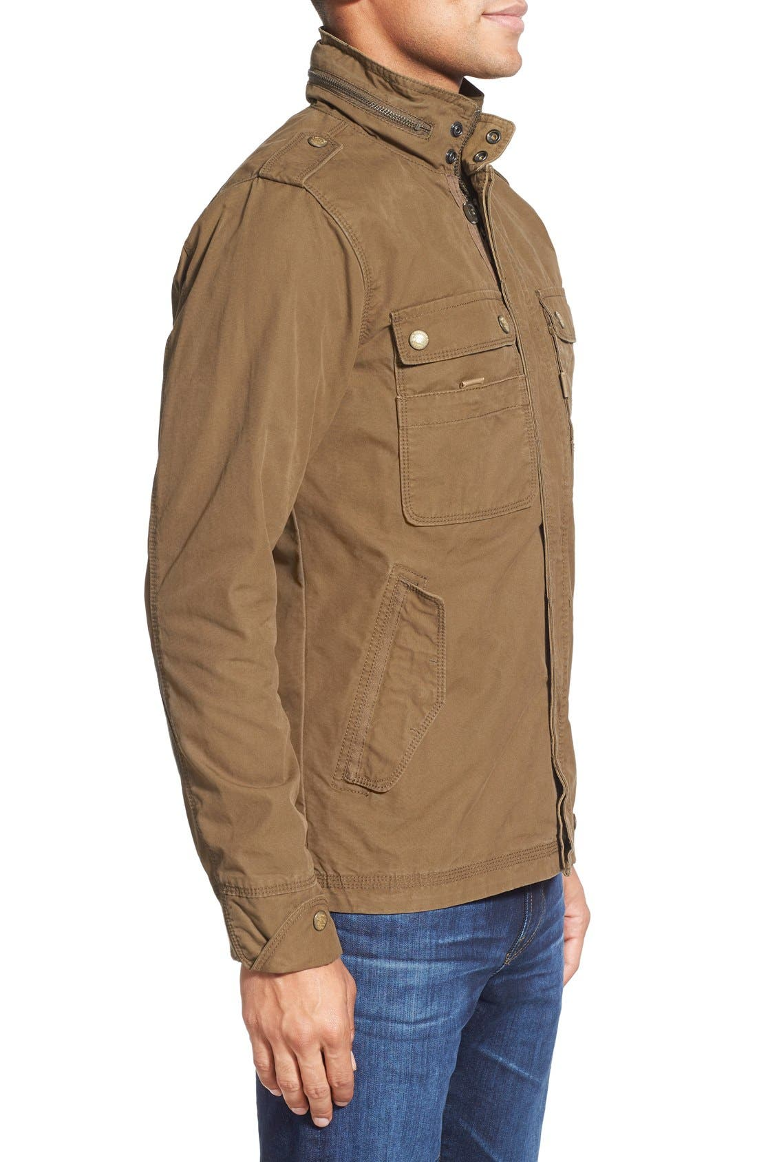 'Paxton' Military Jacket with Stowaway Hood,                             Alternate thumbnail 3, color,                             Peat