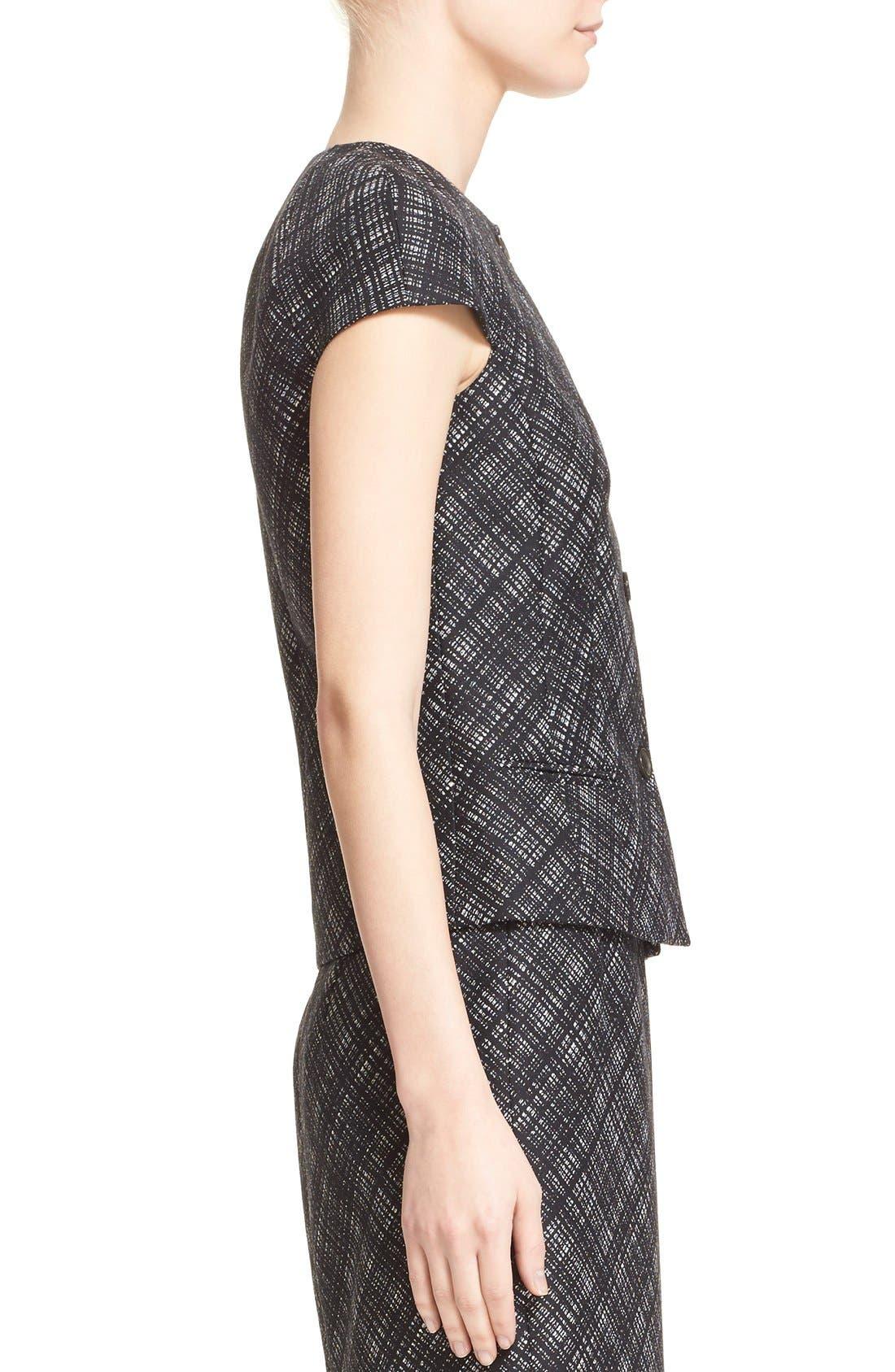 Alternate Image 5  - Michael Kors Jacquard Plaid Cap Sleeve Wool Jacket