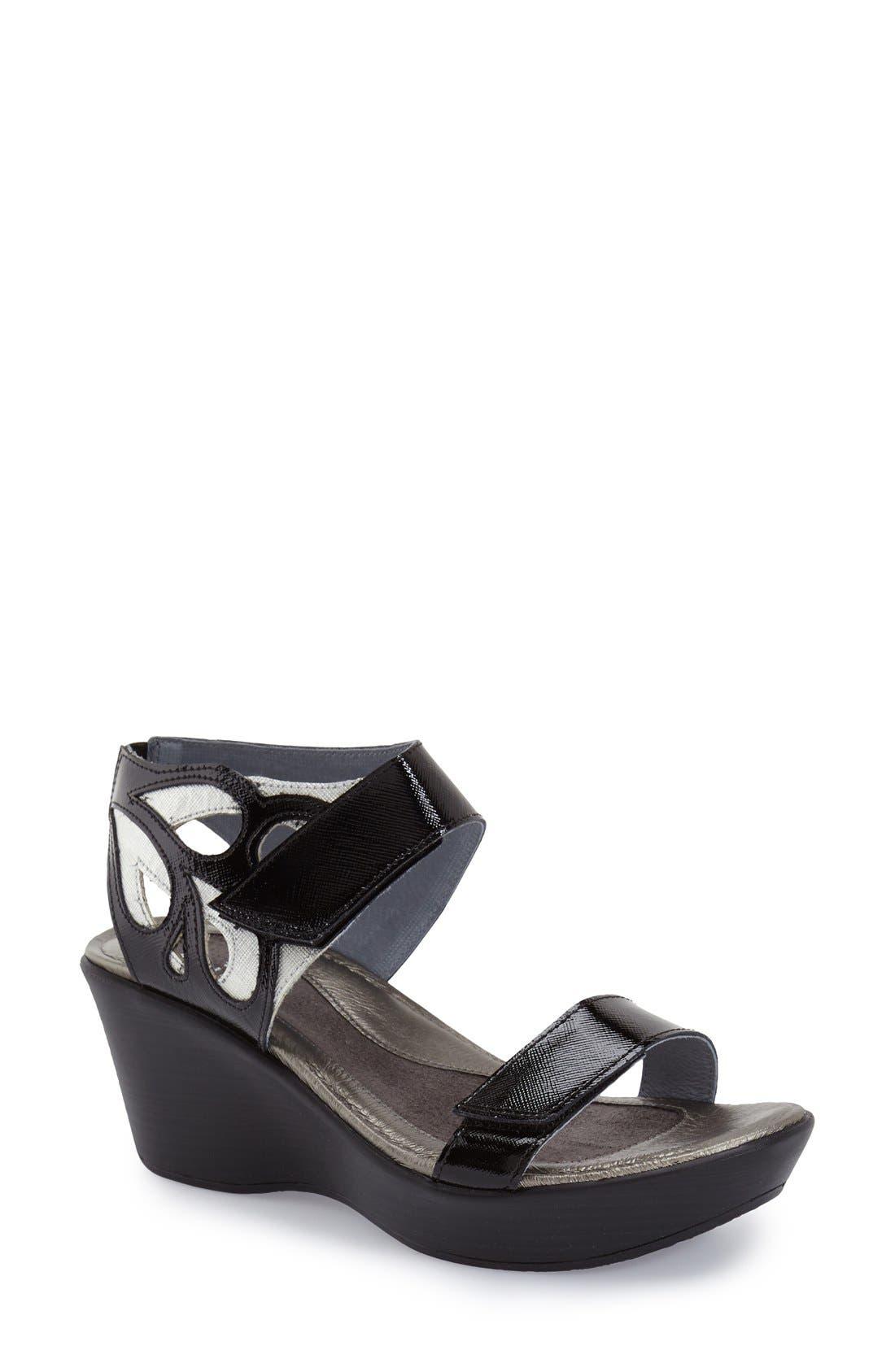 'Intrigue' Platform Wedge,                         Main,                         color, Black Luster Leather