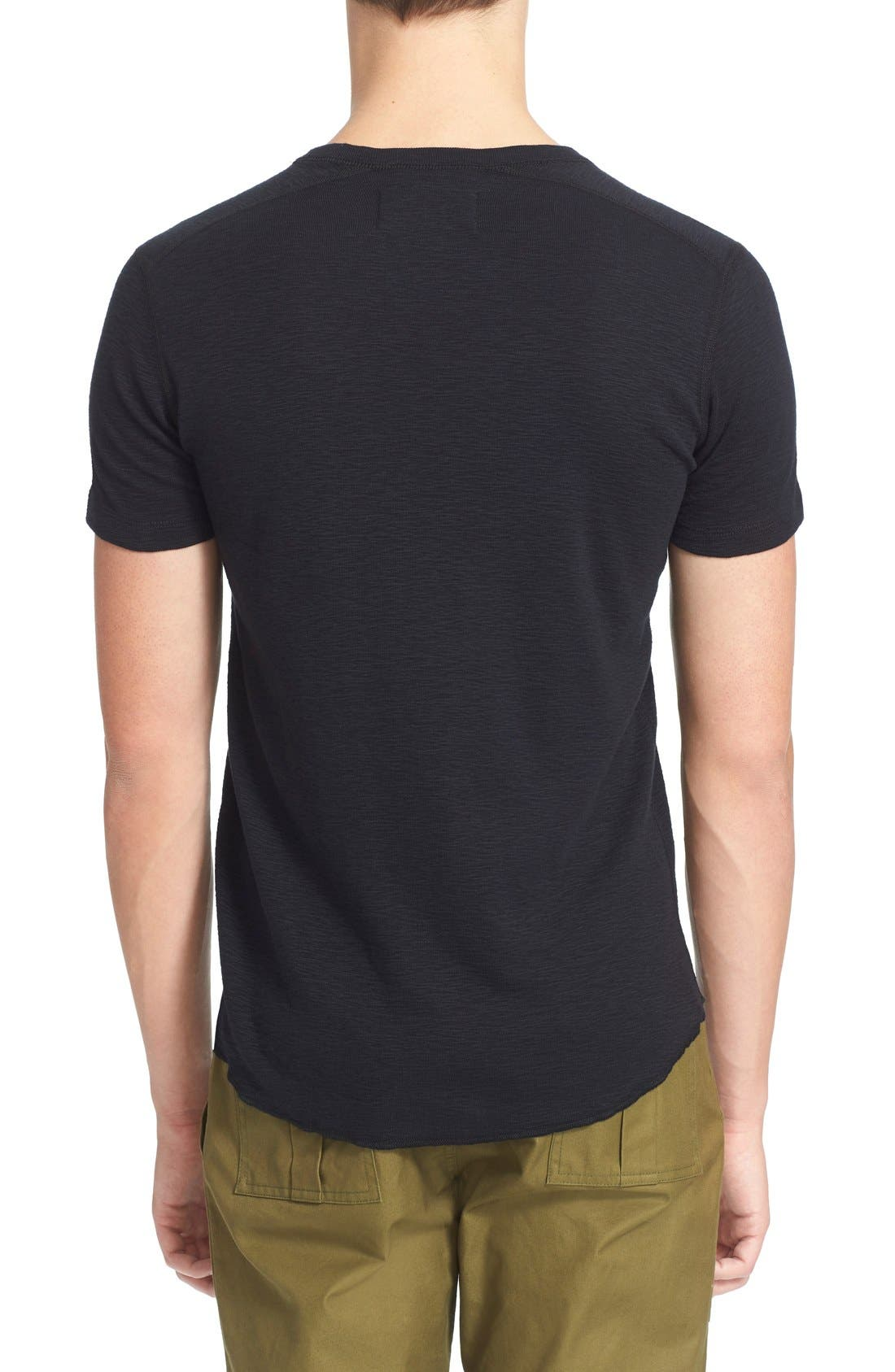 Ribbed Slub Cotton T-Shirt,                             Alternate thumbnail 2, color,                             Black