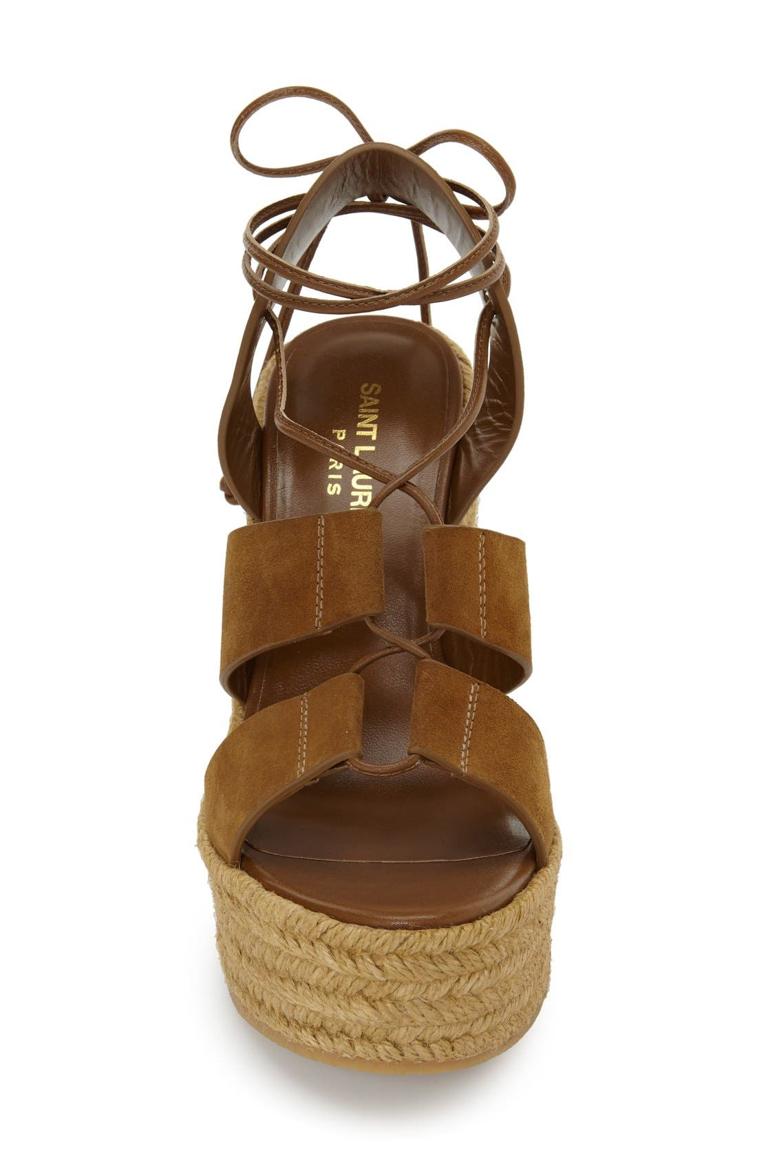 Woven Espadrille Wedge Sandal,                             Alternate thumbnail 3, color,                             Tan Suede
