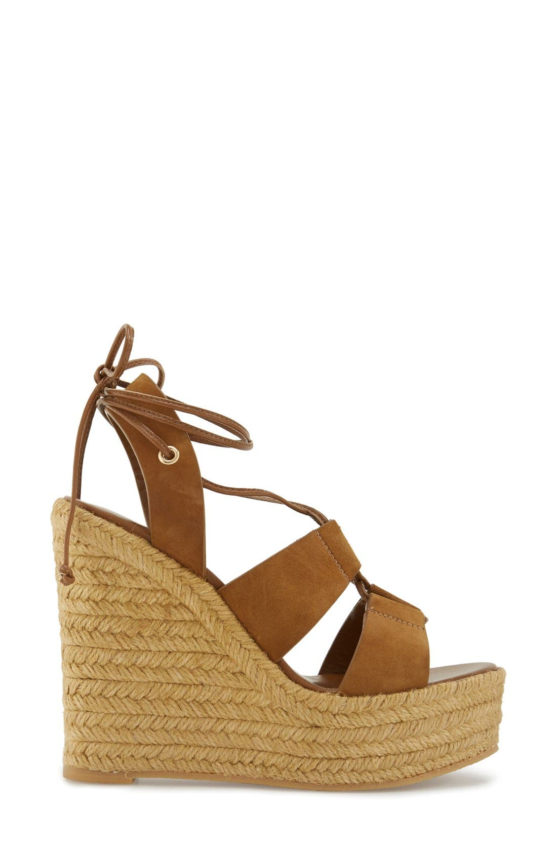 Woven Espadrille Wedge Sandal,                             Alternate thumbnail 4, color,                             Tan Suede