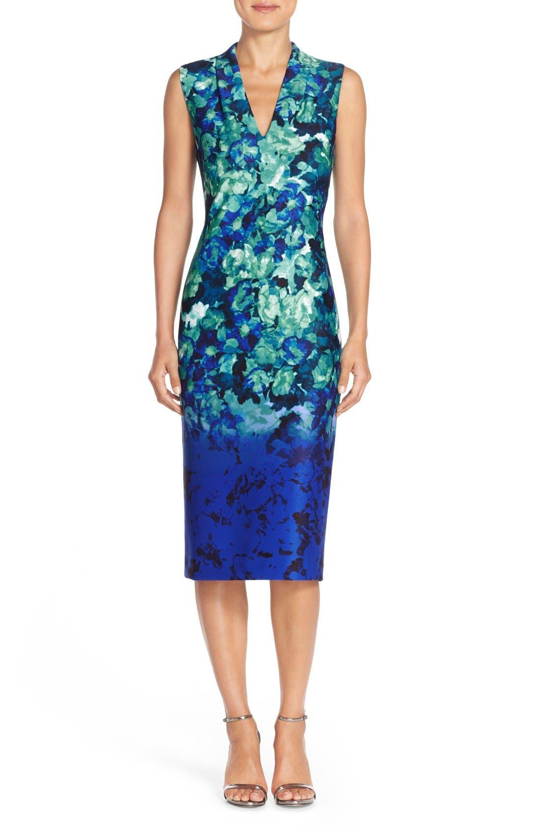 Main Image - Vince Camuto Floral Print Scuba Midi Dress