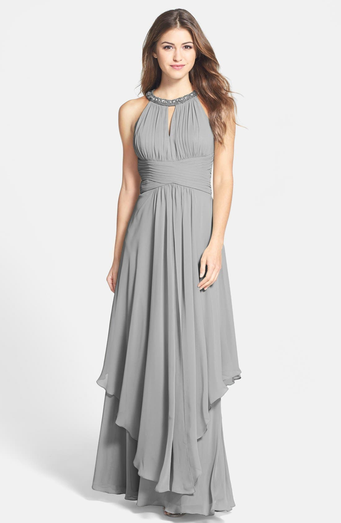 Main Image - Eliza J Embellished Tiered Chiffon Halter Gown