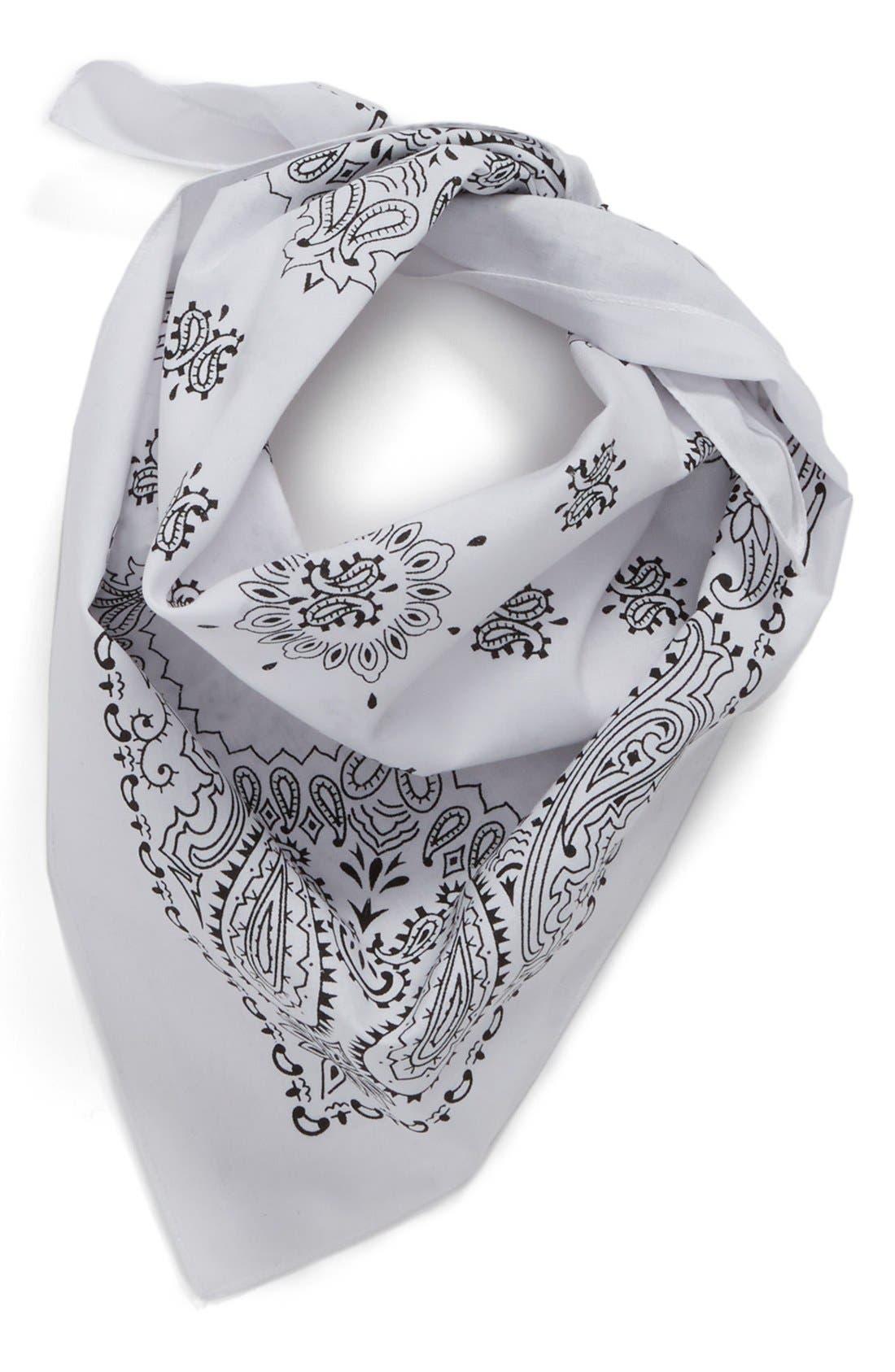 Cotton Bandana,                         Main,                         color, White/ Black