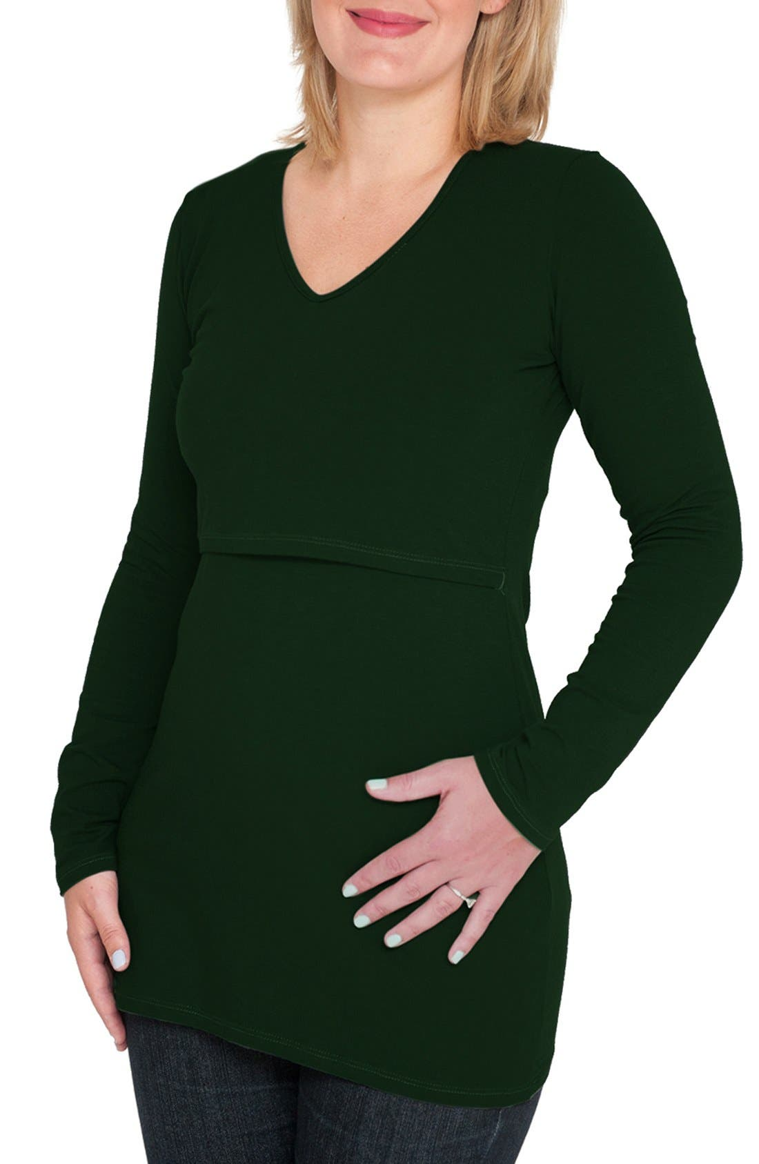 Long Sleeve Nursing Maternity Tee,                         Main,                         color, Green Forest