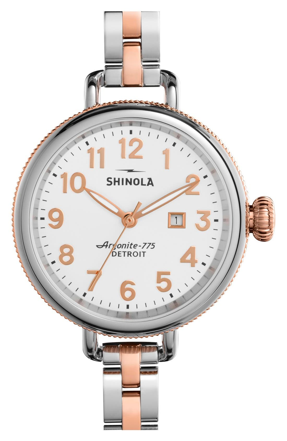 Shinola 'The Birdy' Bracelet Watch, 34mm