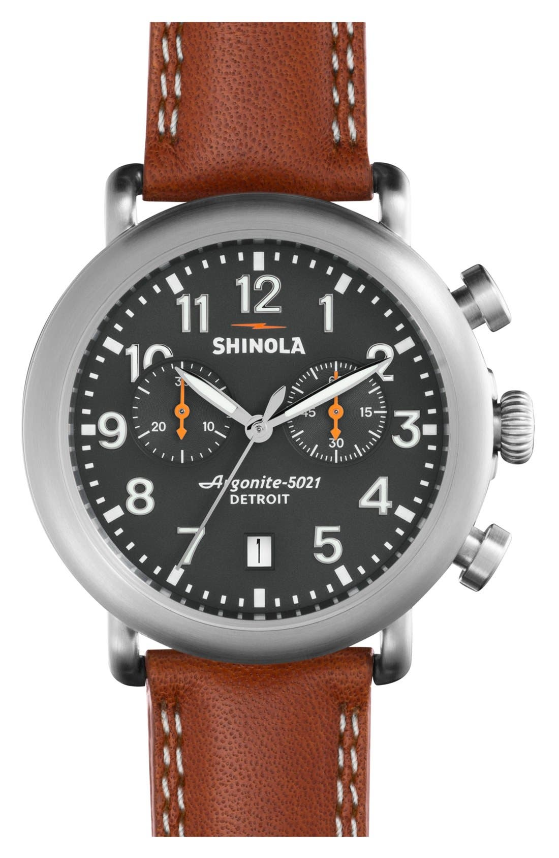 'The Runwell Chrono' Leather Strap Watch, 41mm,                         Main,                         color, Tan/ Cool Grey