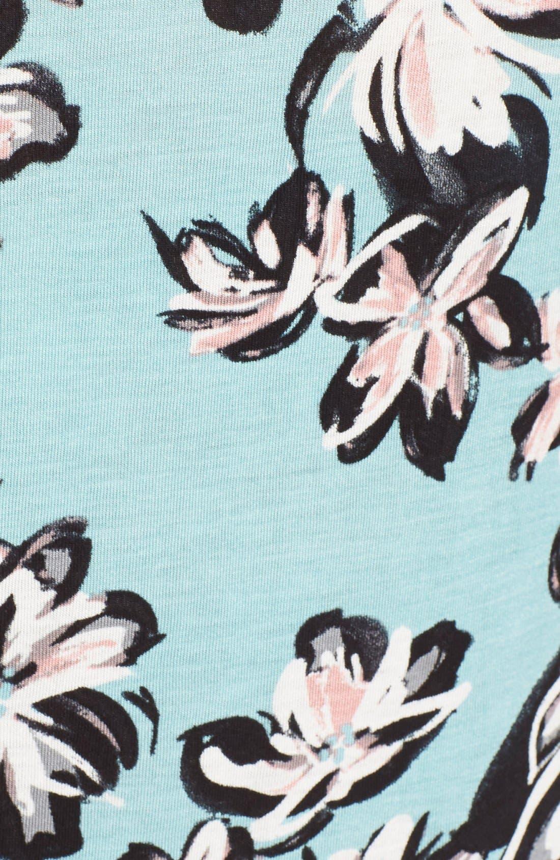 Print High/Low Tee,                             Alternate thumbnail 5, color,                             Blue- Black Floral Print