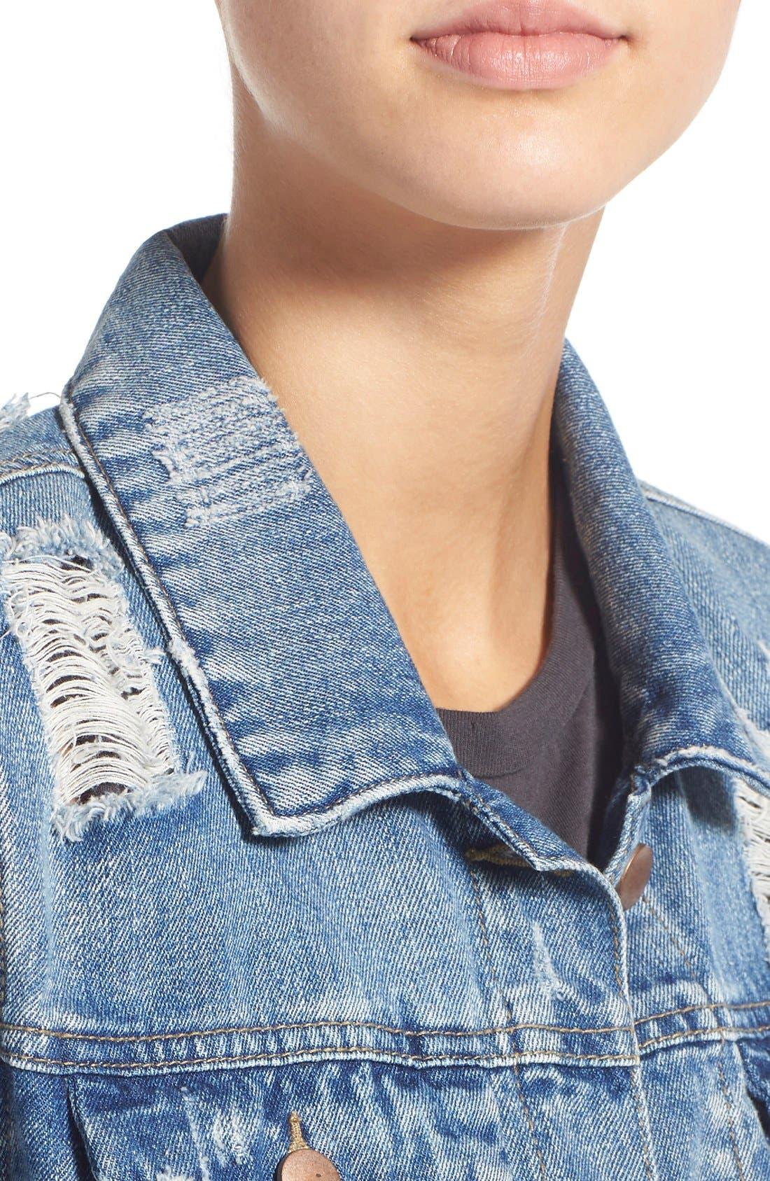 Alternate Image 4  - Love, Fire Distressed Denim Jacket