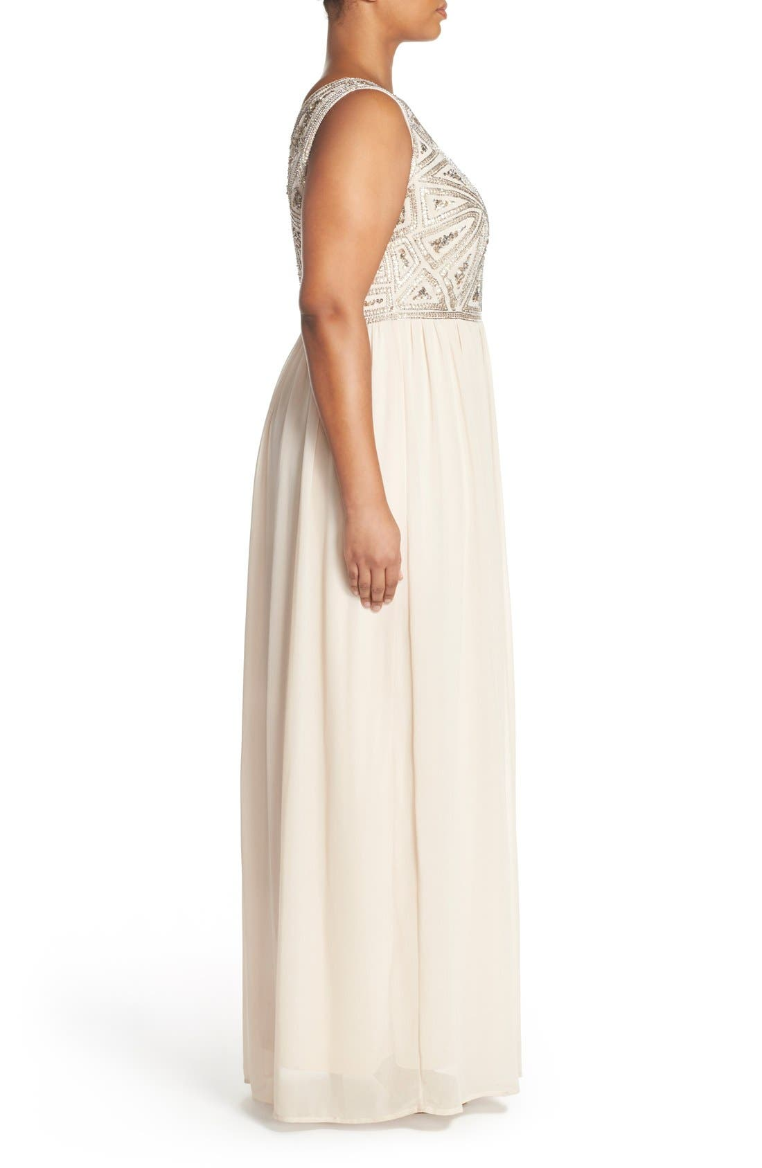 Alternate Image 3  - Adrianna Papell Beaded Bodice A-Line Gown (Plus Size)