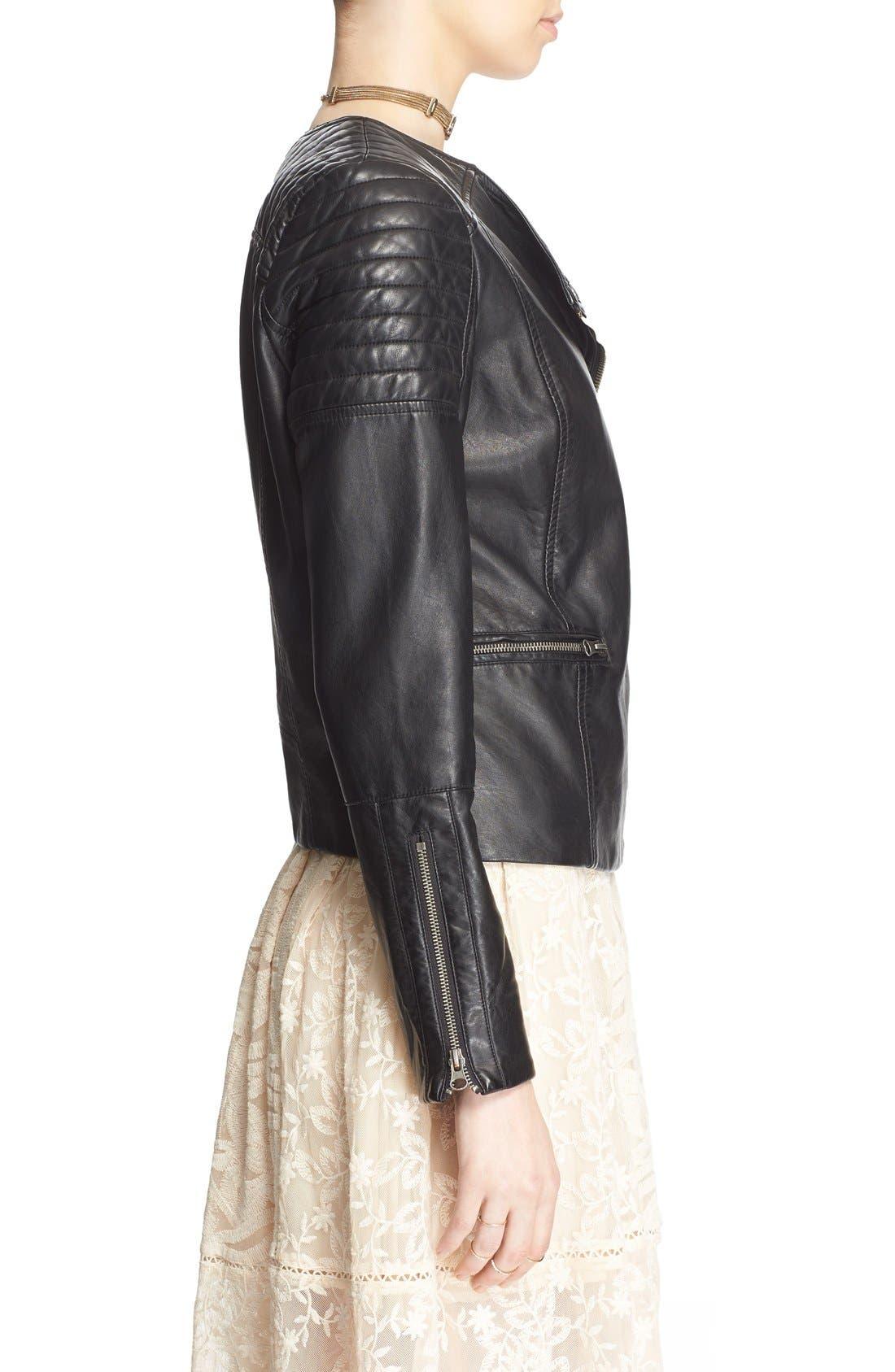 'Exclusive' Faux Leather Jacket,                             Alternate thumbnail 3, color,                             Black
