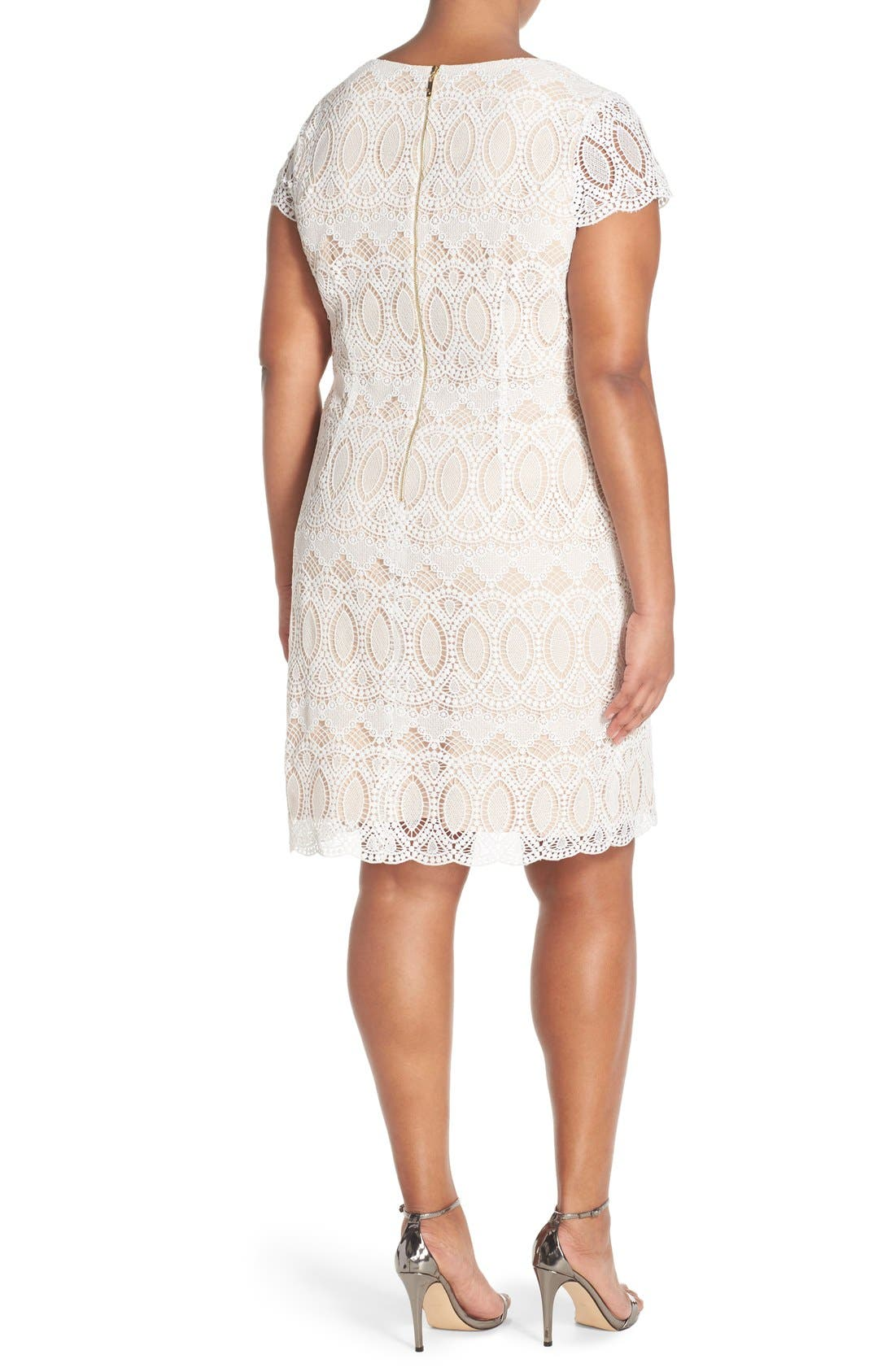 Alternate Image 2  - Eliza J Cap Sleeve Lace Shift Dress (Plus Size)