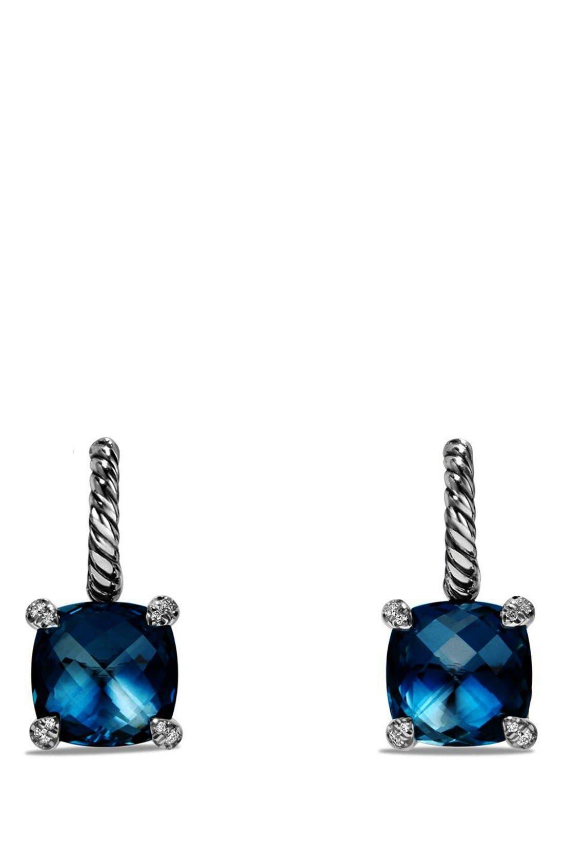 'Châtelaine' Drop Earrings with Semiprecious Stones and Diamonds,                         Main,                         color, Silver/ Hampton Blue Topaz