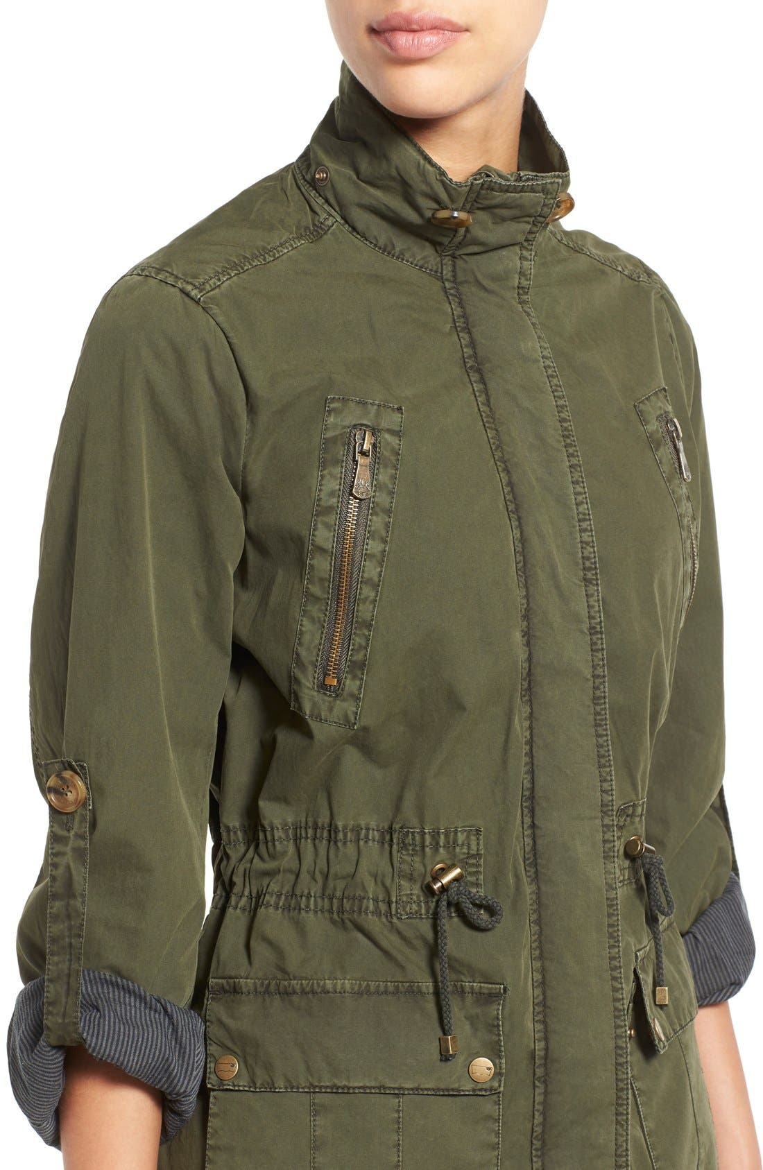 Parachute Hooded Cotton Utility Jacket,                             Alternate thumbnail 4, color,                             Army Green