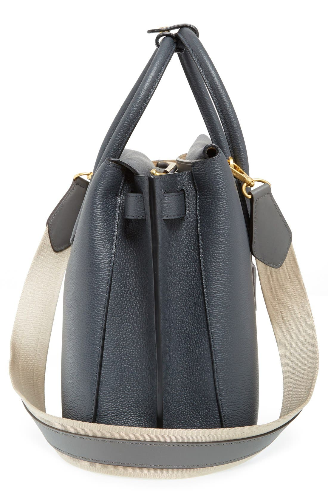 'Large Milla' Leather Tote,                             Alternate thumbnail 5, color,                             Phantom Grey