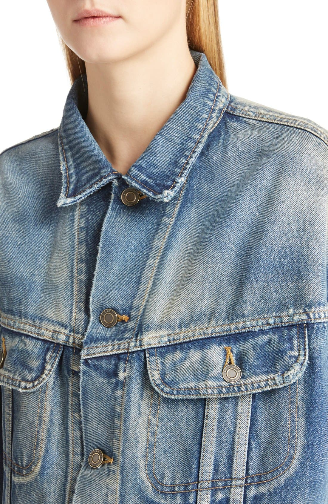 Alternate Image 5  - Saint Laurent Oversize Vintage Wash Denim Jacket