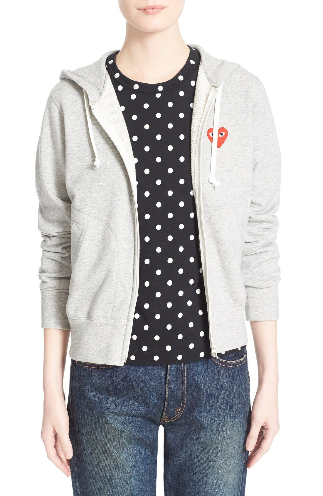 Comme des Garçons 'Play' Cotton Zip Hoodie,                         Main,                         color, Grey