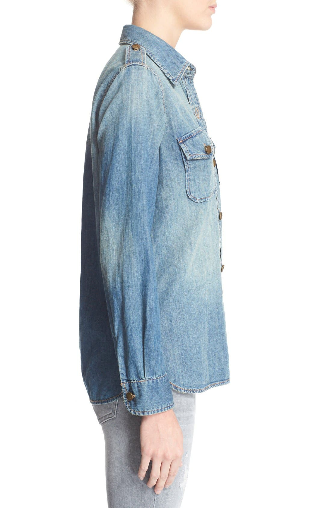'The Perfect' Button Front Denim Shirt,                             Alternate thumbnail 3, color,                             Miner