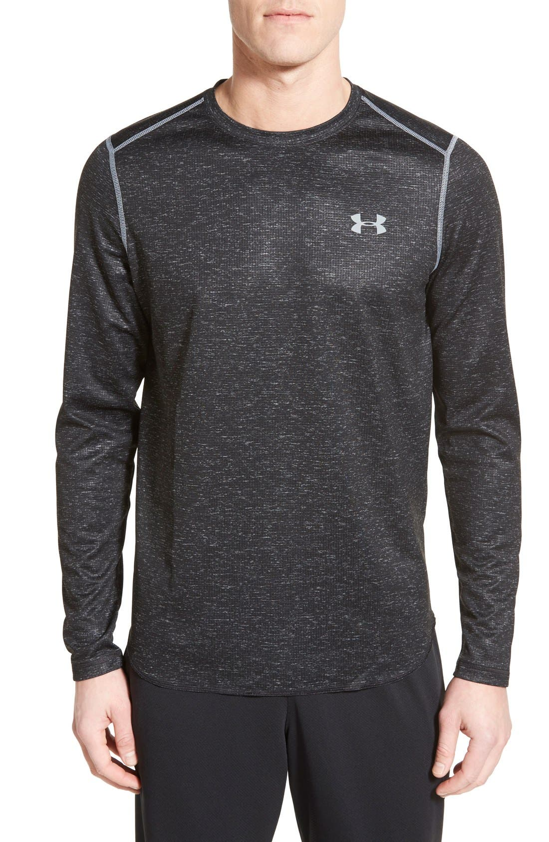 Tech<sup>™</sup> Long Sleeve Waffle Knit T-Shirt,                         Main,                         color, Black/ Black/ Steel