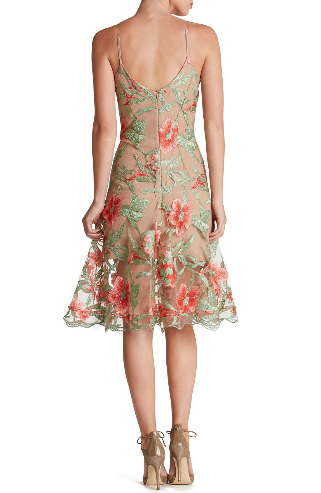 Alternate Image 2  - Dress the Population Embroidered Lace Fit & Flare Dress