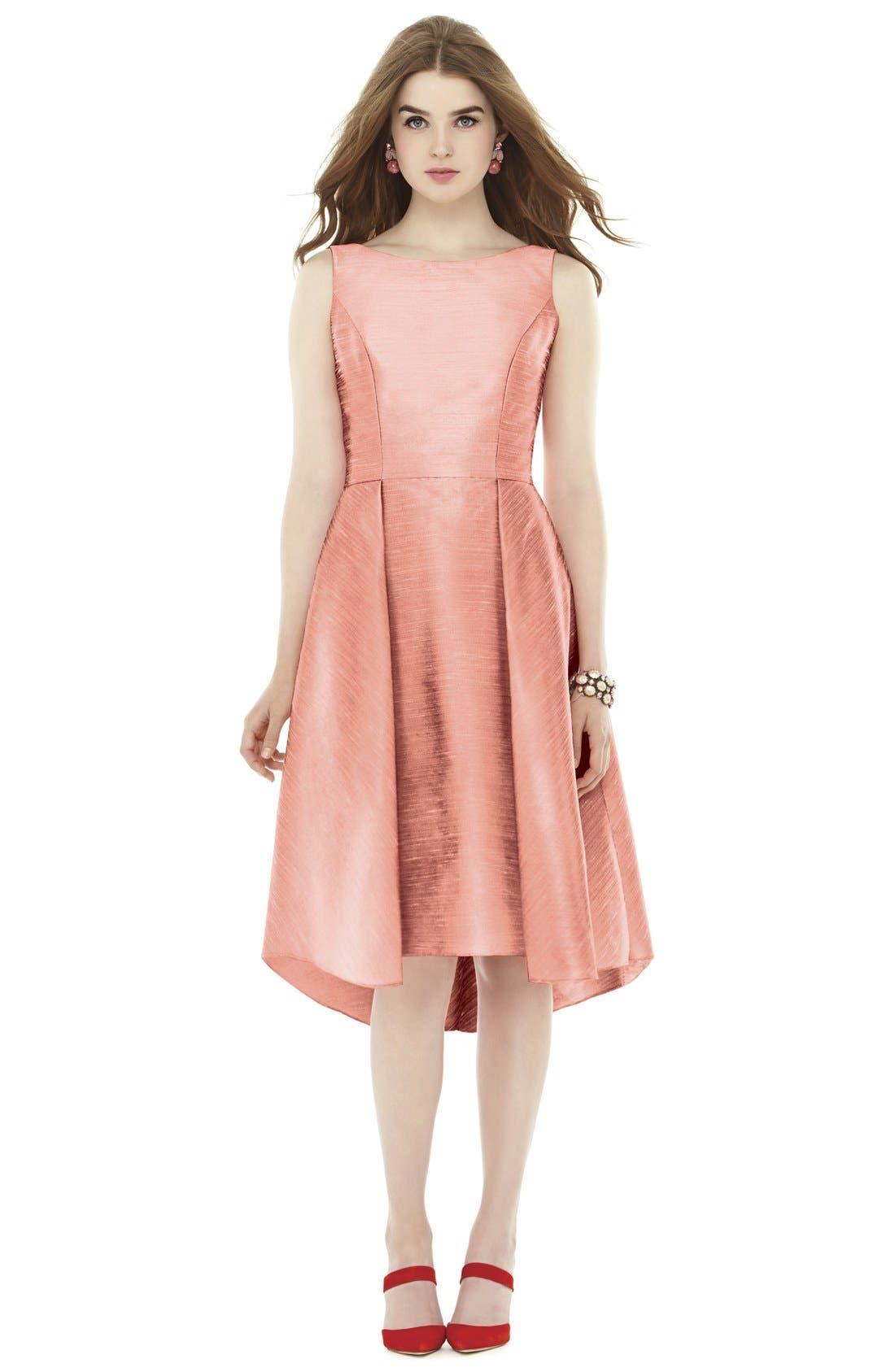 Bow Back Dupioni Fit & Flare Midi Dress,                         Main,                         color, Fresco