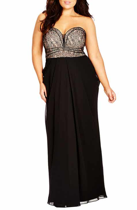 b12511b2c7a92 City Chic Motown Strapless Lace   Chiffon Maxi Dress (Plus Size)