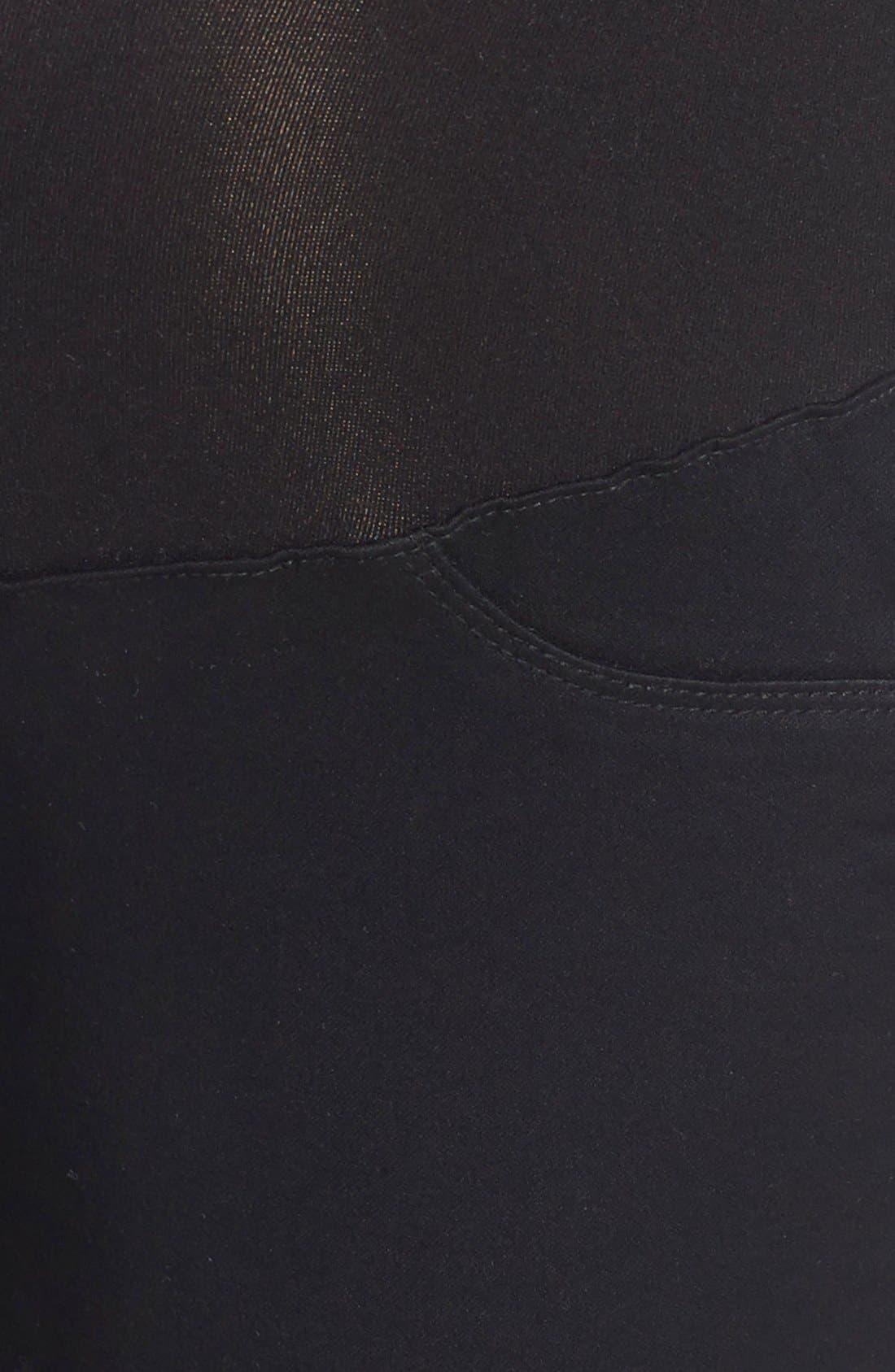 'Butter' Maternity Skinny Jeans,                             Alternate thumbnail 5, color,                             Black