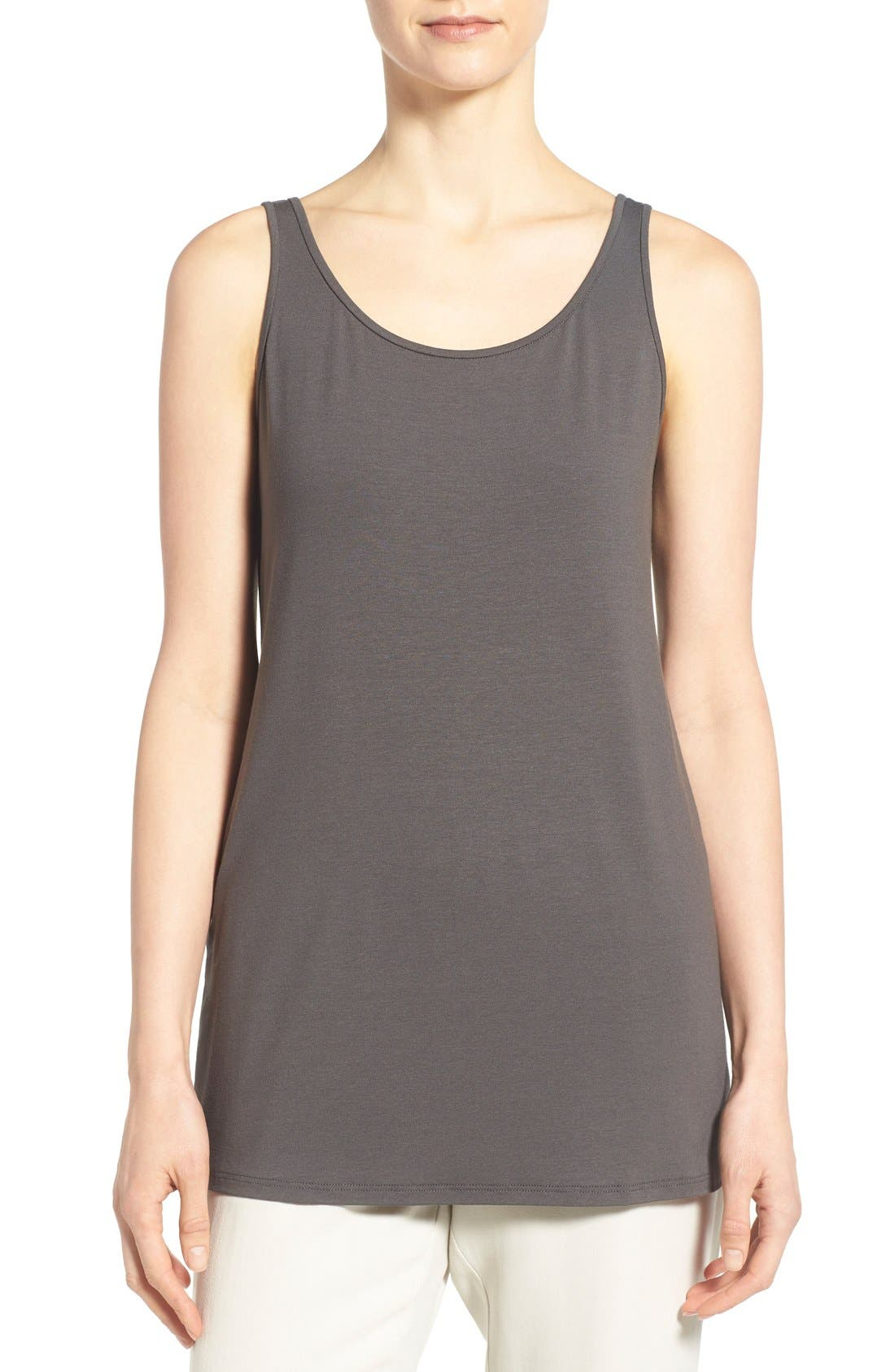 Jersey Scoop Neck Long Tank,                             Main thumbnail 1, color,                             Bark
