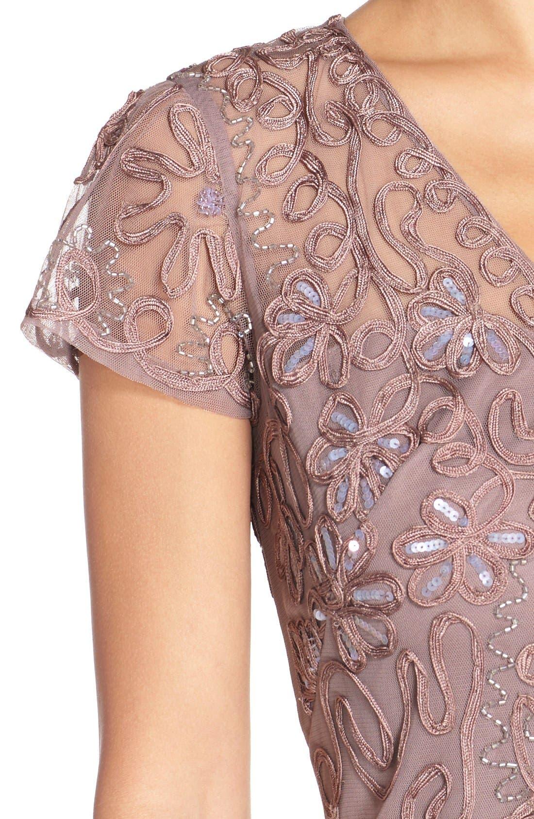 Embellished Soutache Sheath Dress,                             Alternate thumbnail 5, color,                             Dusty Lavender