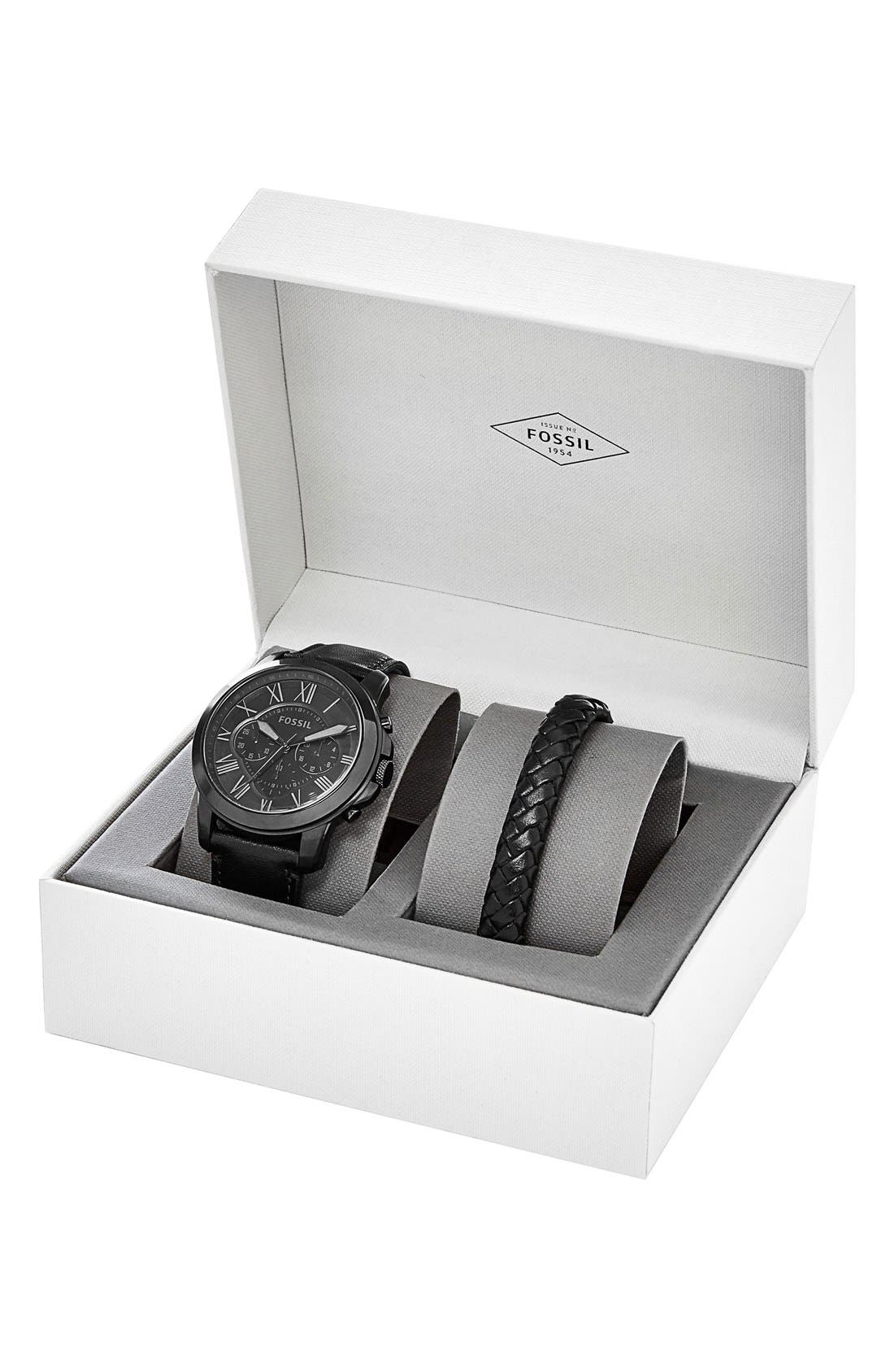 Alternate Image 3  - Fossil 'Grant' Watch & Leather Strap Set