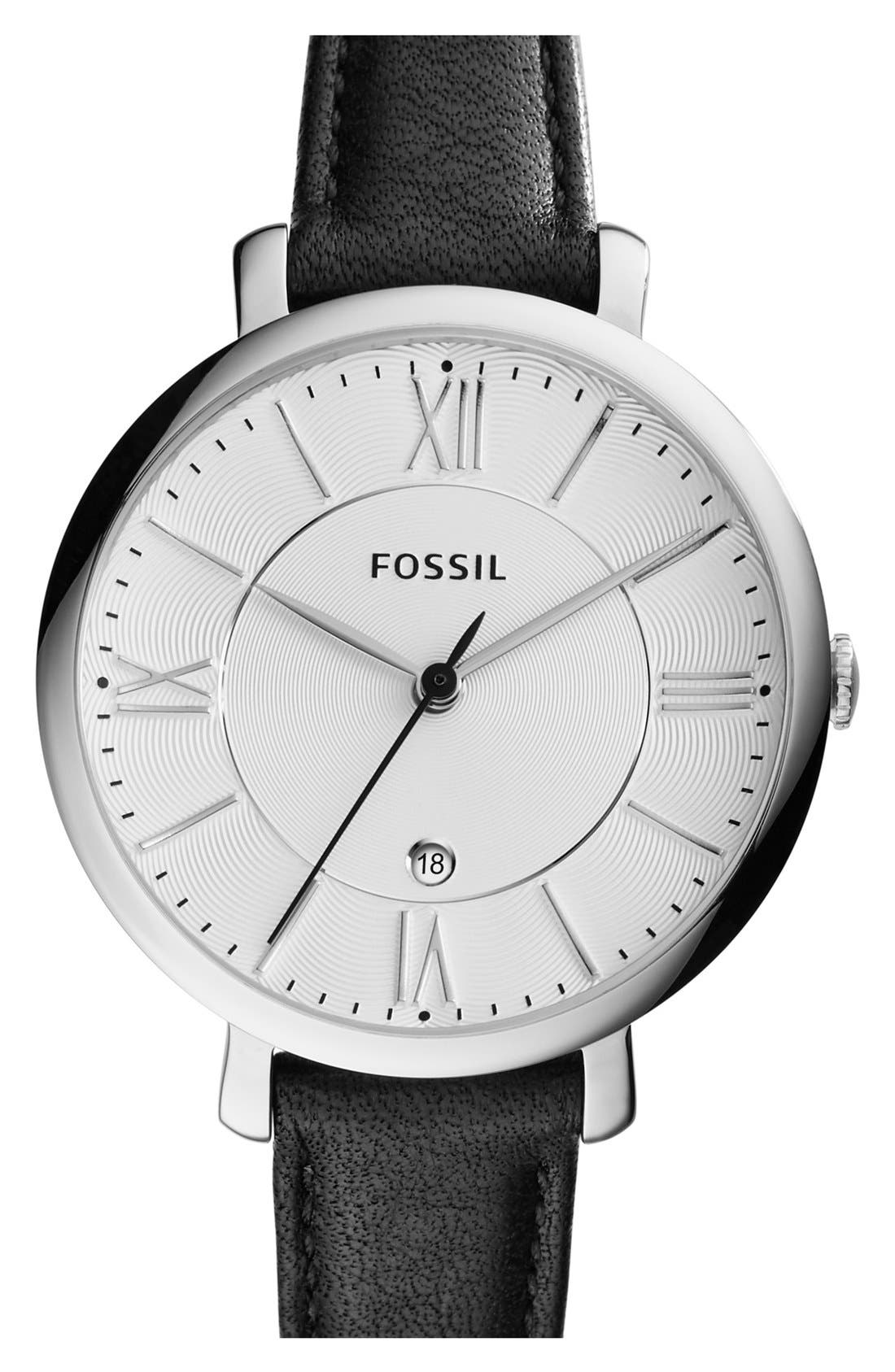 'Jacqueline' Round Leather Strap Watch, 36mm,                         Main,                         color, Black/ White