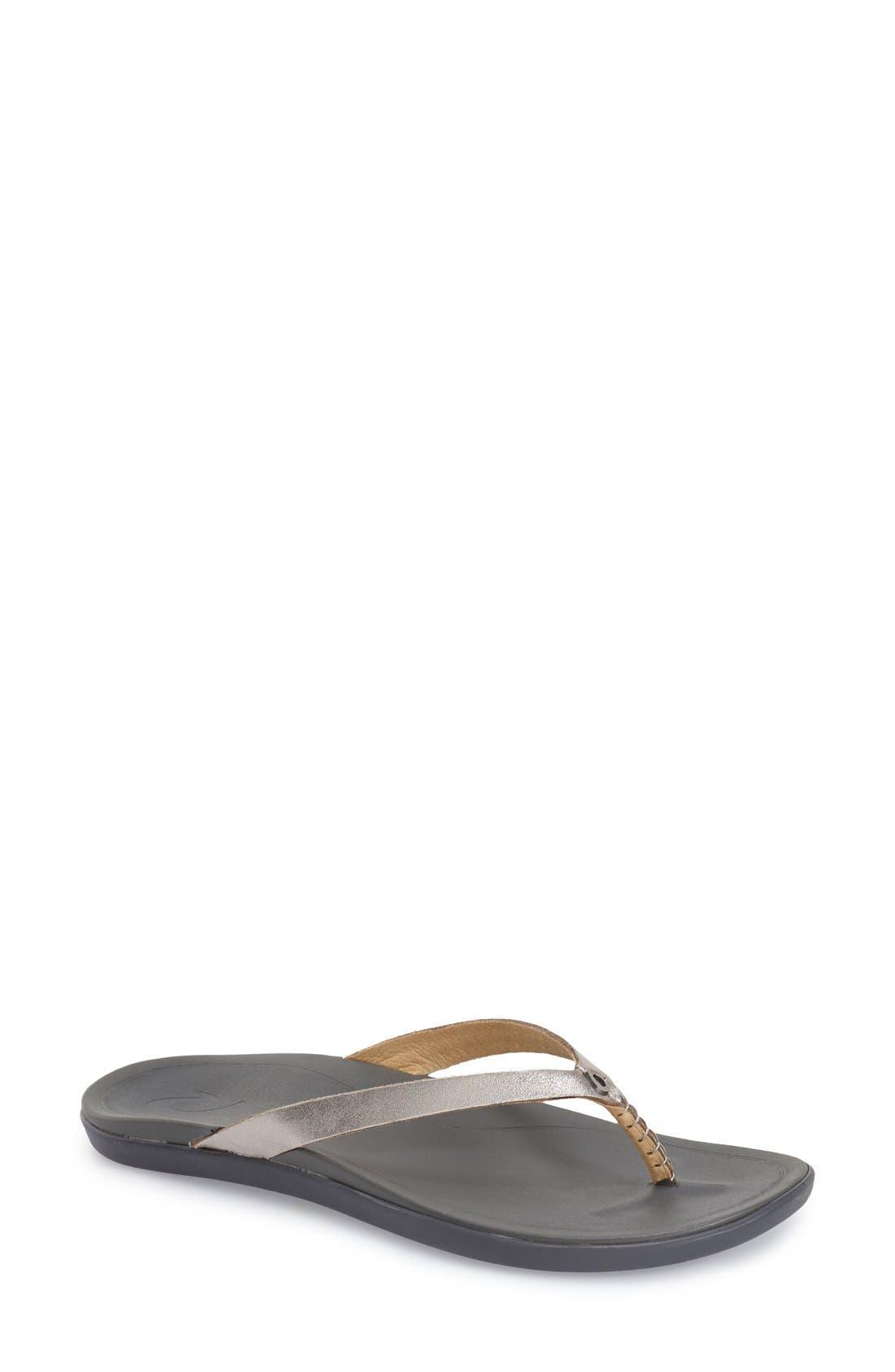 OluKai 'Ho Opio' Leather Flip Flop (Women)