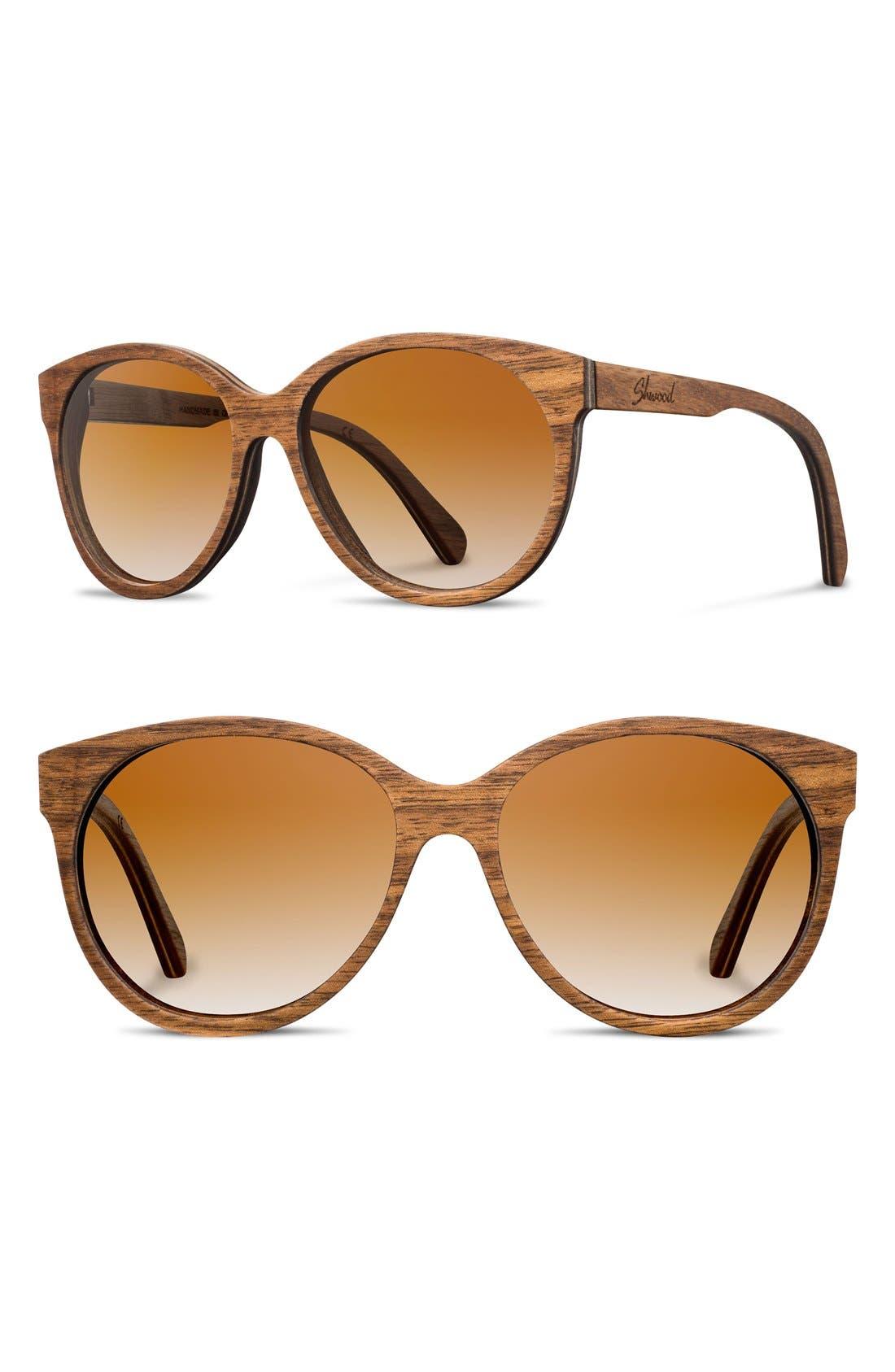 'Madison' 54mm Round Wood Sunglasses,                         Main,                         color, Walnut/ Brown Fade
