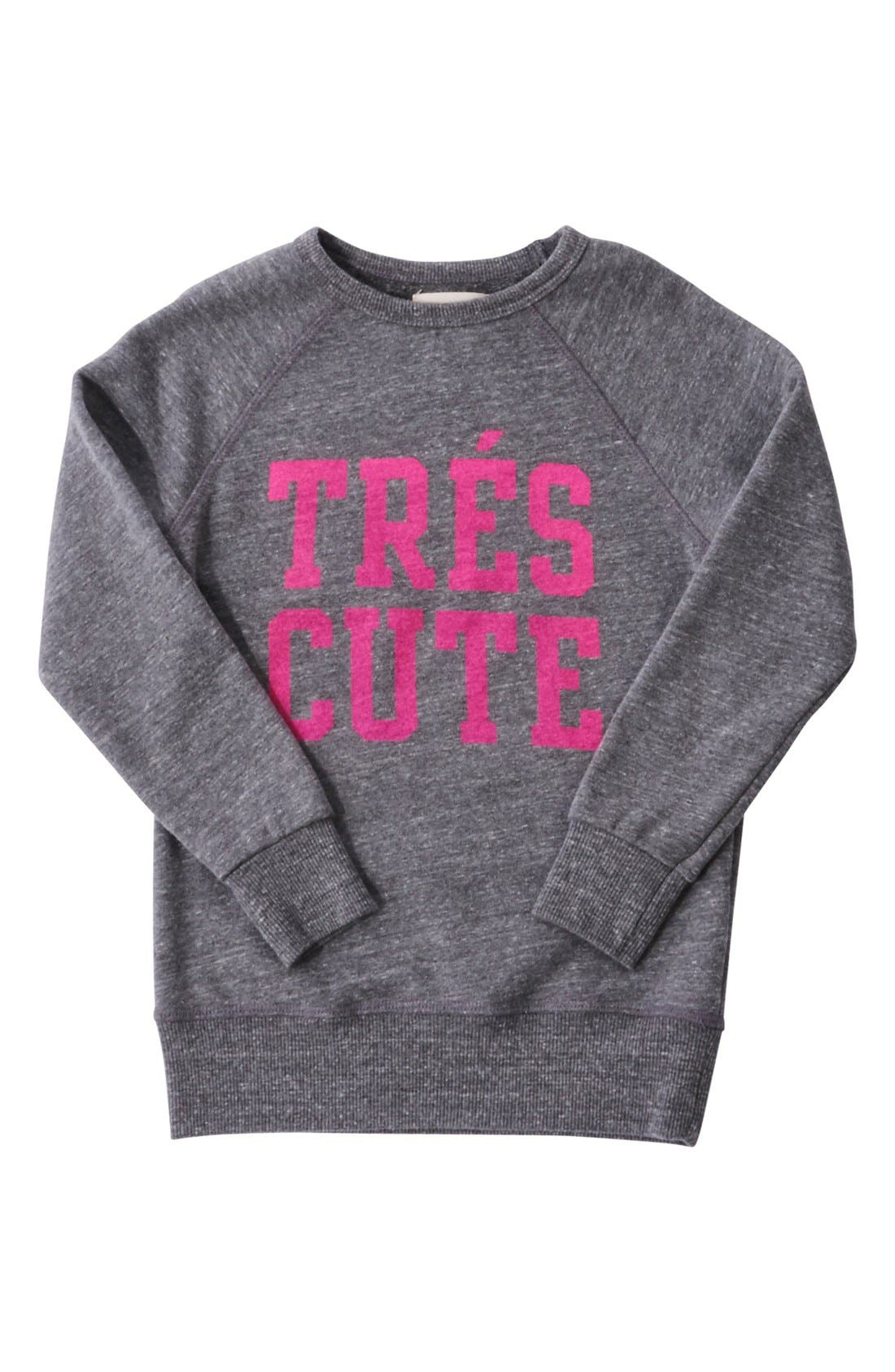Alternate Image 2  - Peek 'Très Cute' Graphic Sweatshirt (Toddler Girls, Little Girls & Big Girls)