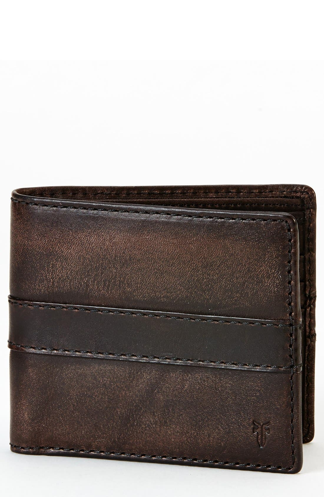 'Oliver' Leather Billfold Wallet,                             Main thumbnail 1, color,                             Dark Brown