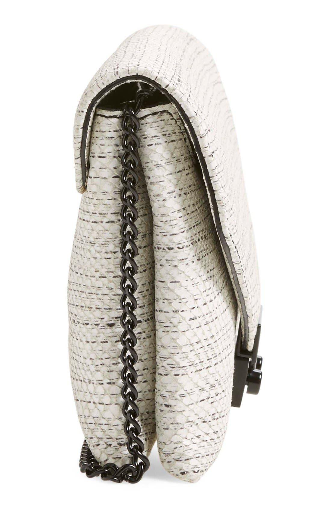 'Junior Lock' Leather Envelope Clutch,                             Alternate thumbnail 5, color,                             White Black