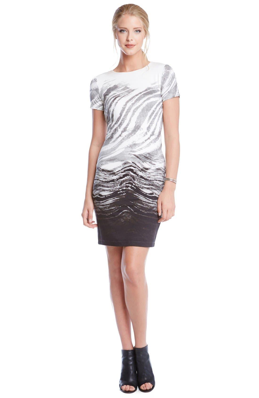 Alternate Image 2  - Karen Kane Short Sleeve Ombré Graphic Sheath Dress