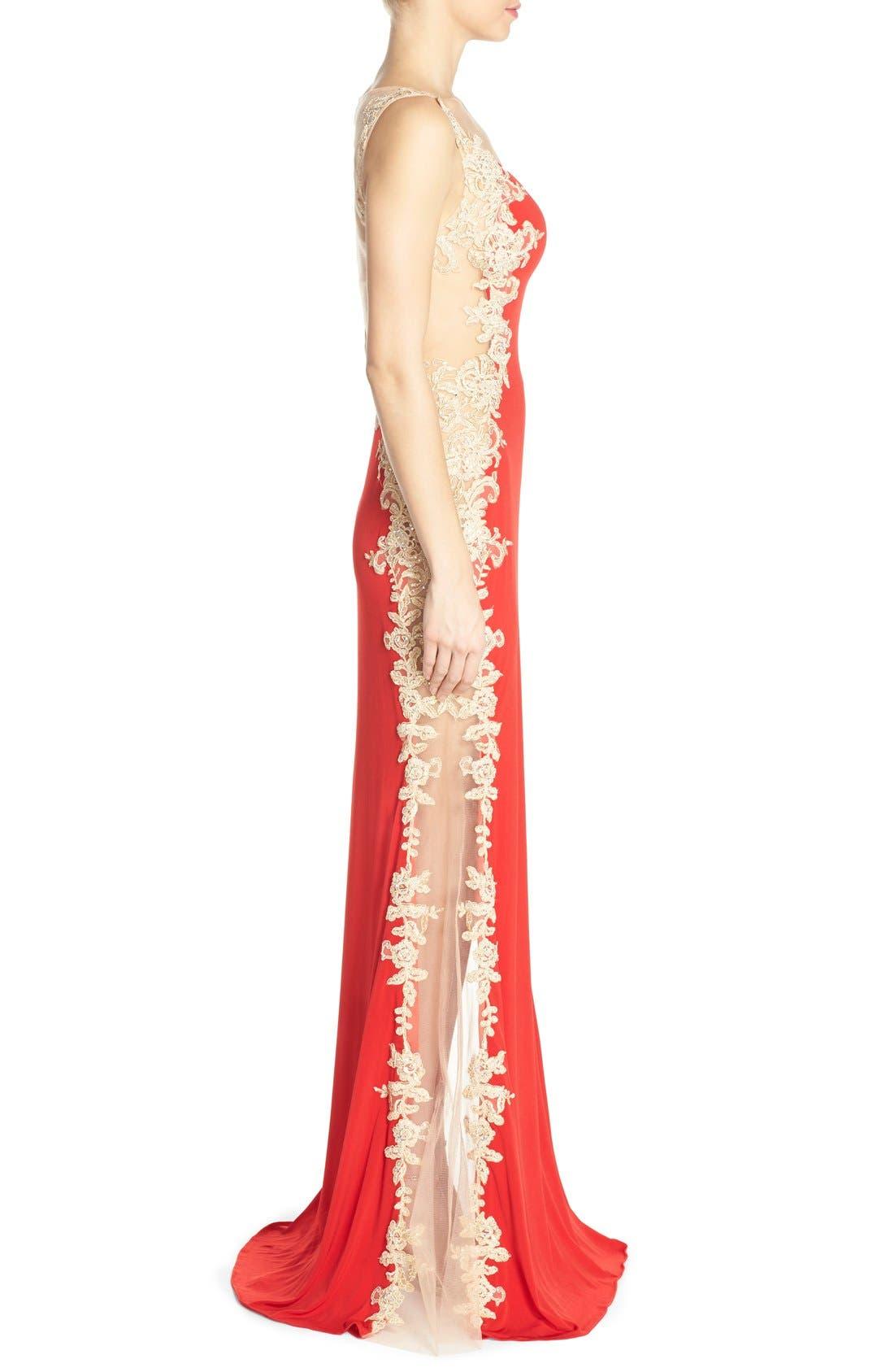 Alternate Image 3  - JVN by Jovani Embellished Sheer Back Gown