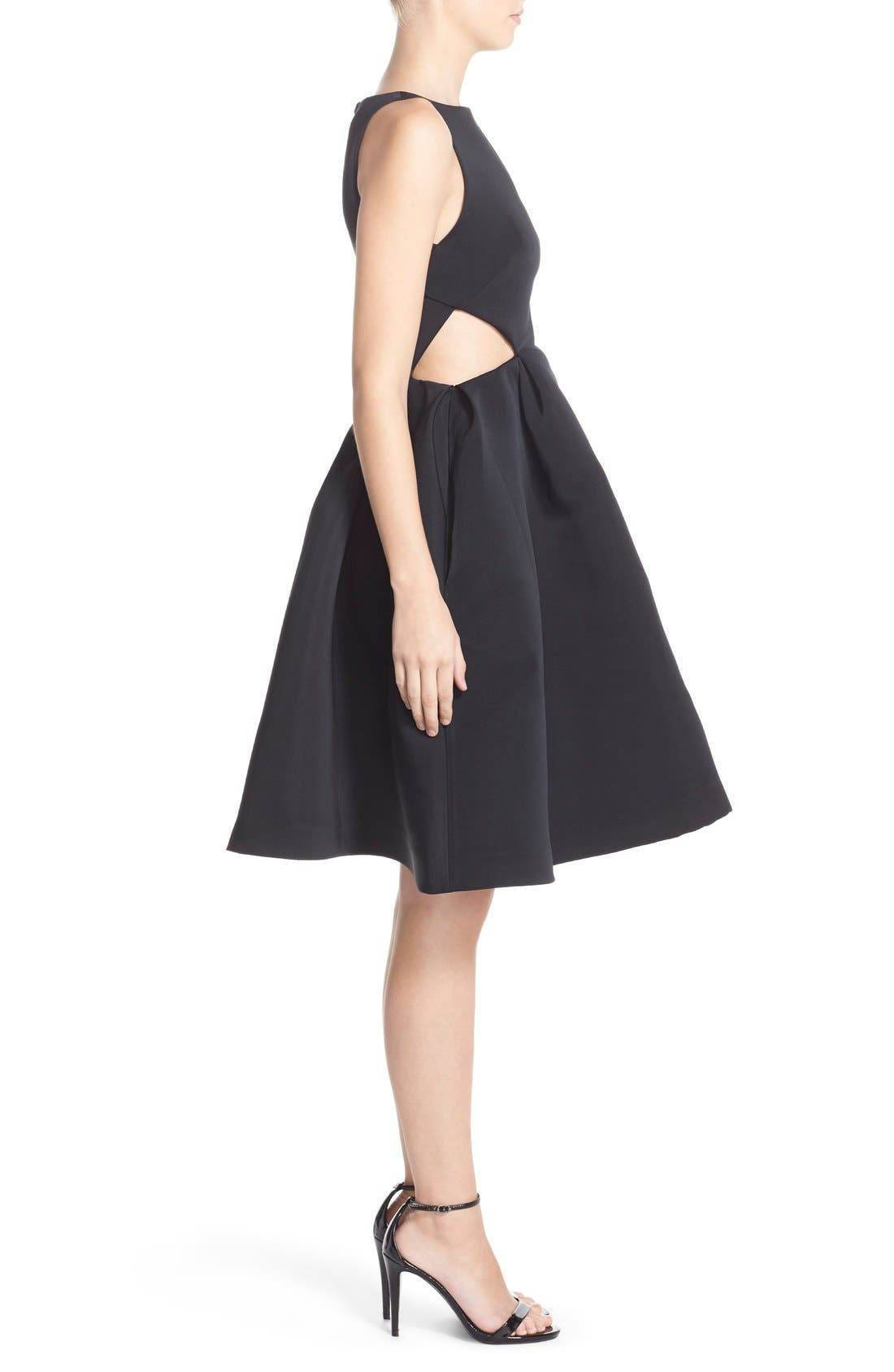 Alternate Image 3  - Halston Heritage Side Cutout Bateau Neck Satin Faille Fit & Flare Dress