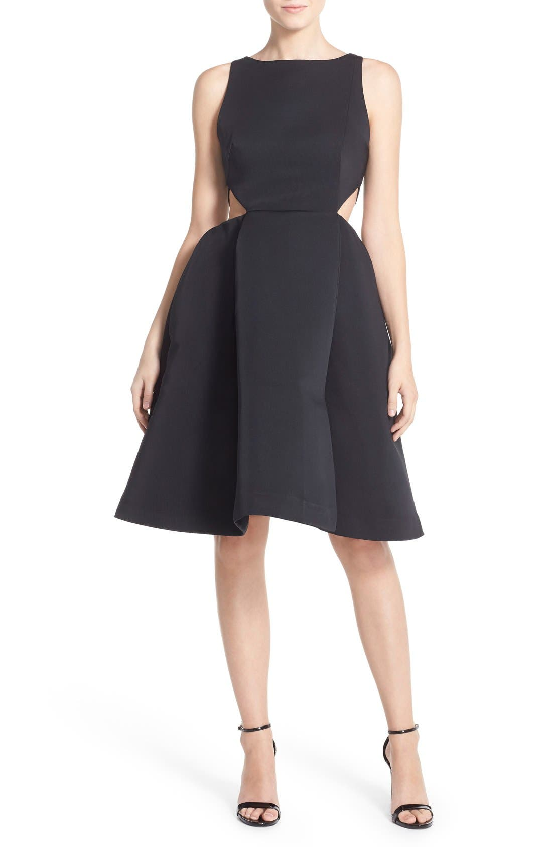 Alternate Image 6  - Halston Heritage Side Cutout Bateau Neck Satin Faille Fit & Flare Dress