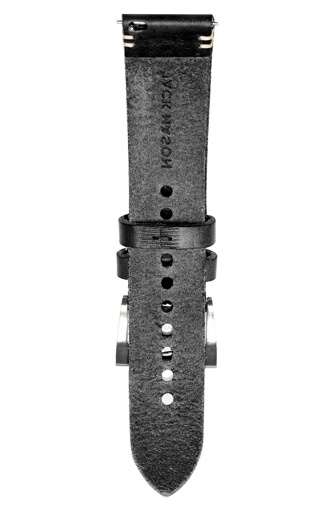 Leather Watch Strap, 22mm,                             Alternate thumbnail 2, color,                             Black