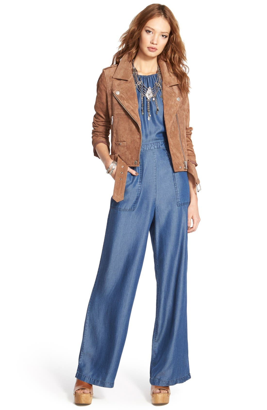 Alternate Image 6  - ASTR Chambray Halter Jumpsuit