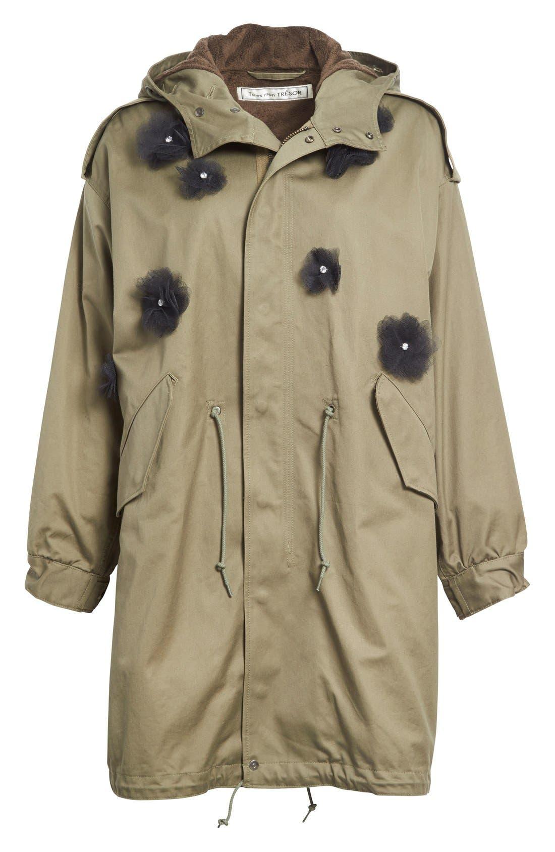 Alternate Image 4  - Tu es mon TRÉSOR Tulle Flower Utility Coat